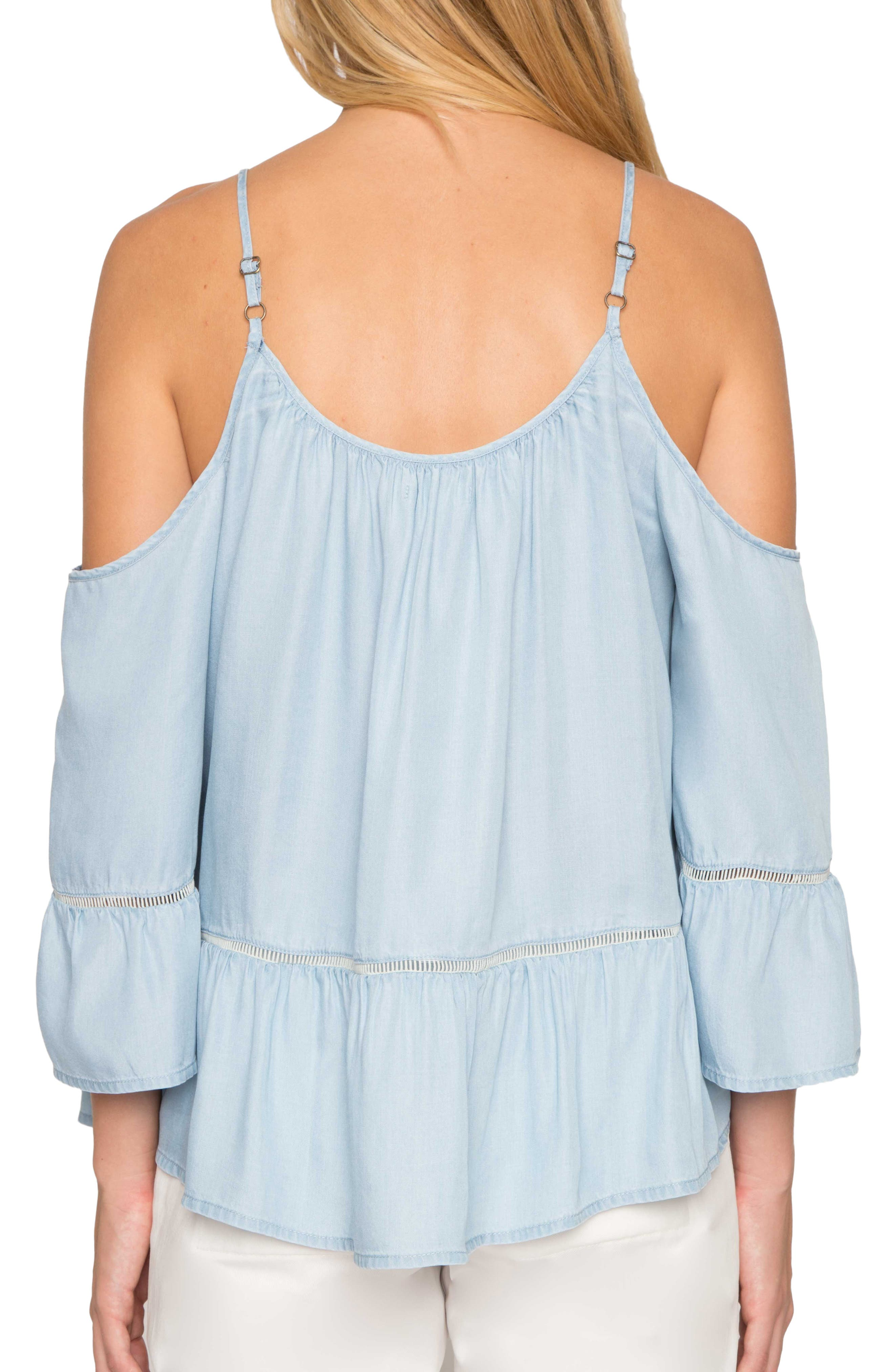 Off the Shoulder Chambray Top,                             Alternate thumbnail 2, color,