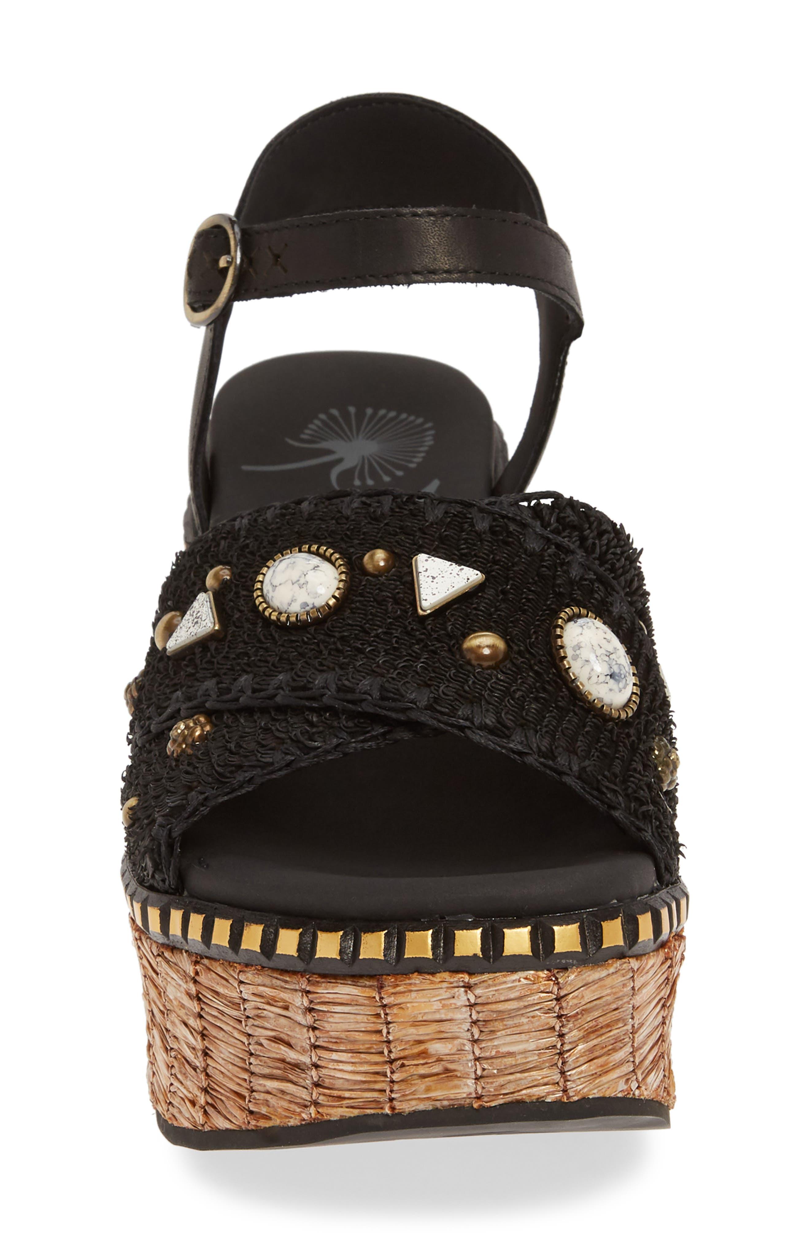 Cahoot Embellished Platform Wedge Sandal,                             Alternate thumbnail 4, color,                             BLACK LEATHER