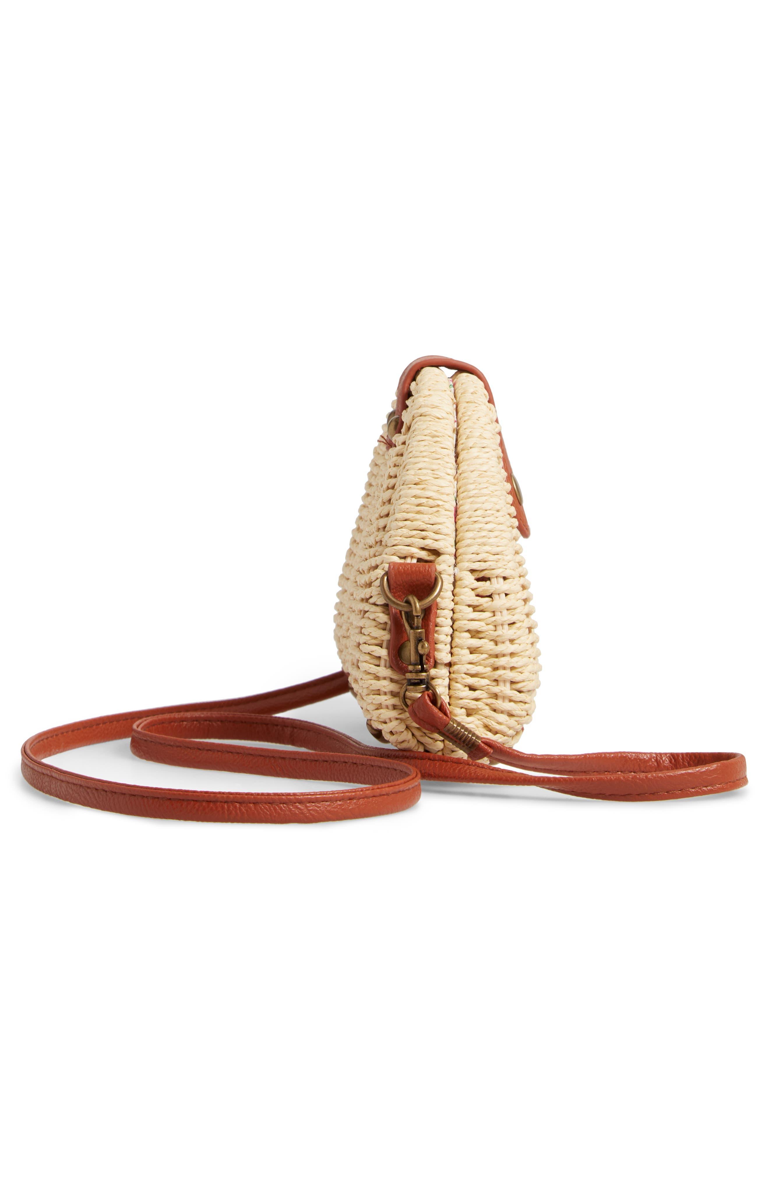 LA DOUBLE 7,                             Faux Leather Trim Straw Crossbody Bag,                             Alternate thumbnail 5, color,                             NATURAL