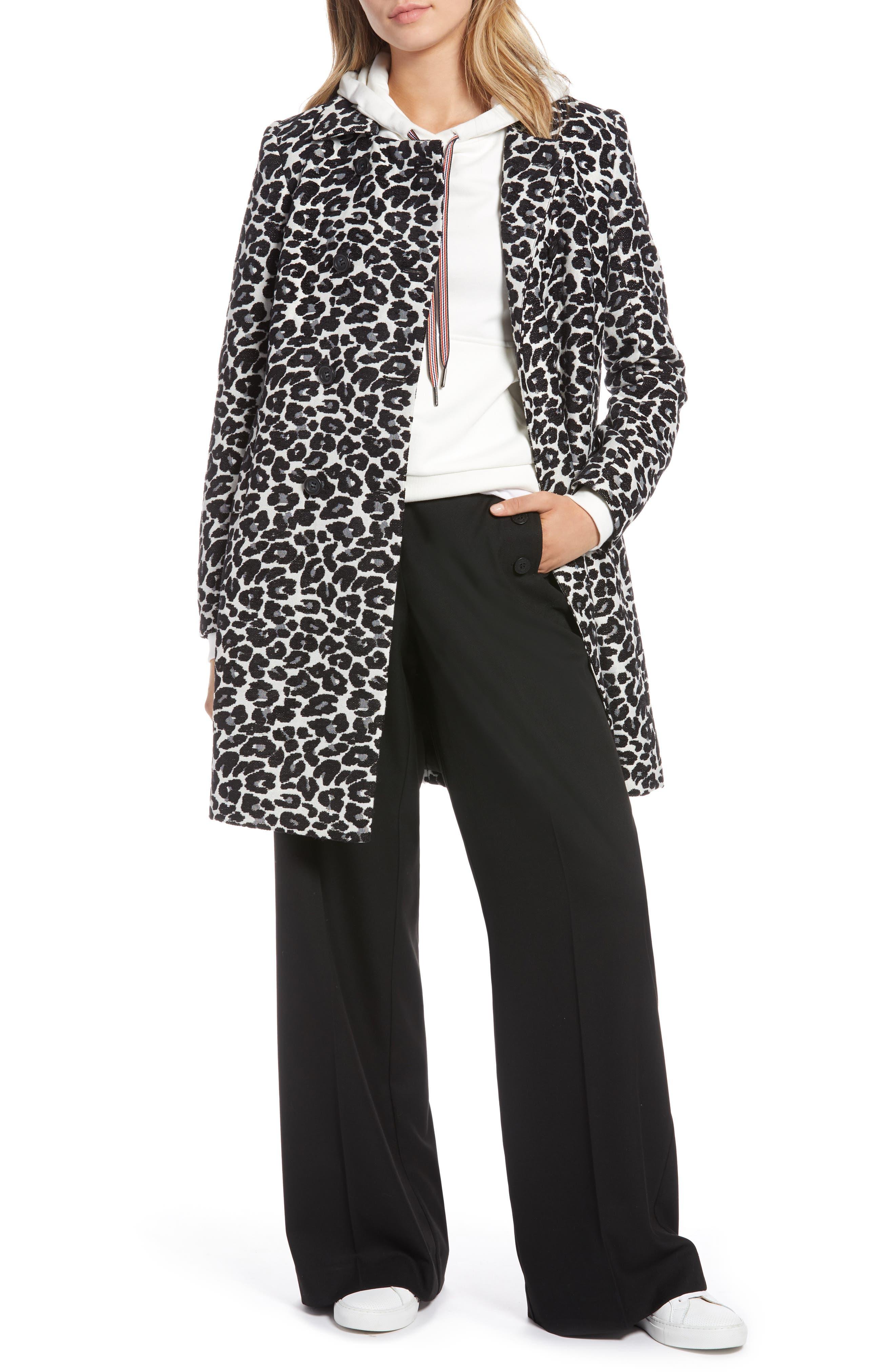 Leopard Coat,                             Main thumbnail 1, color,                             BLACK- WHITE LEOPARD