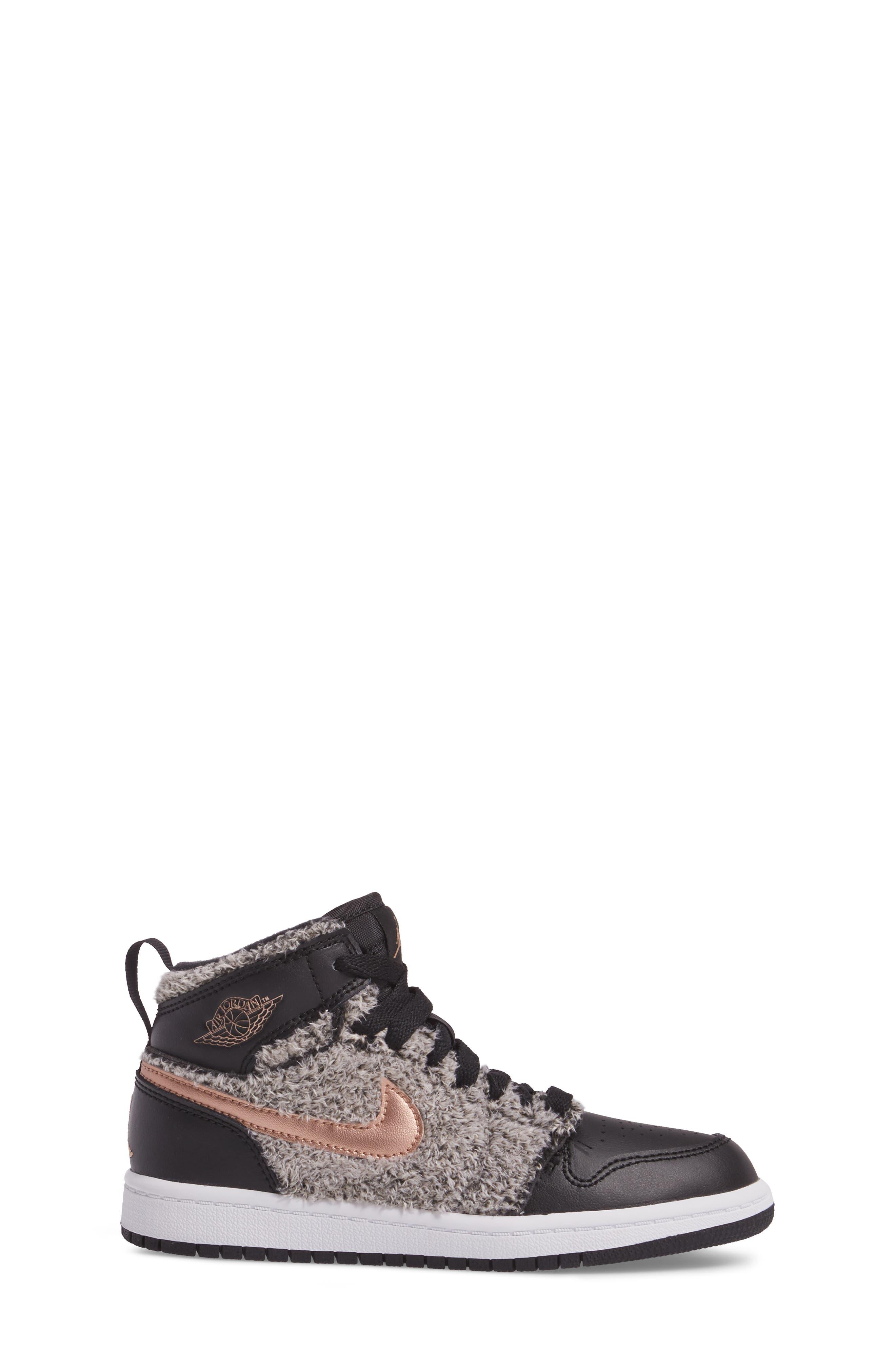 Nike Air Jordan 1 Retro Faux Fur High Top Sneaker,                             Alternate thumbnail 3, color,                             001