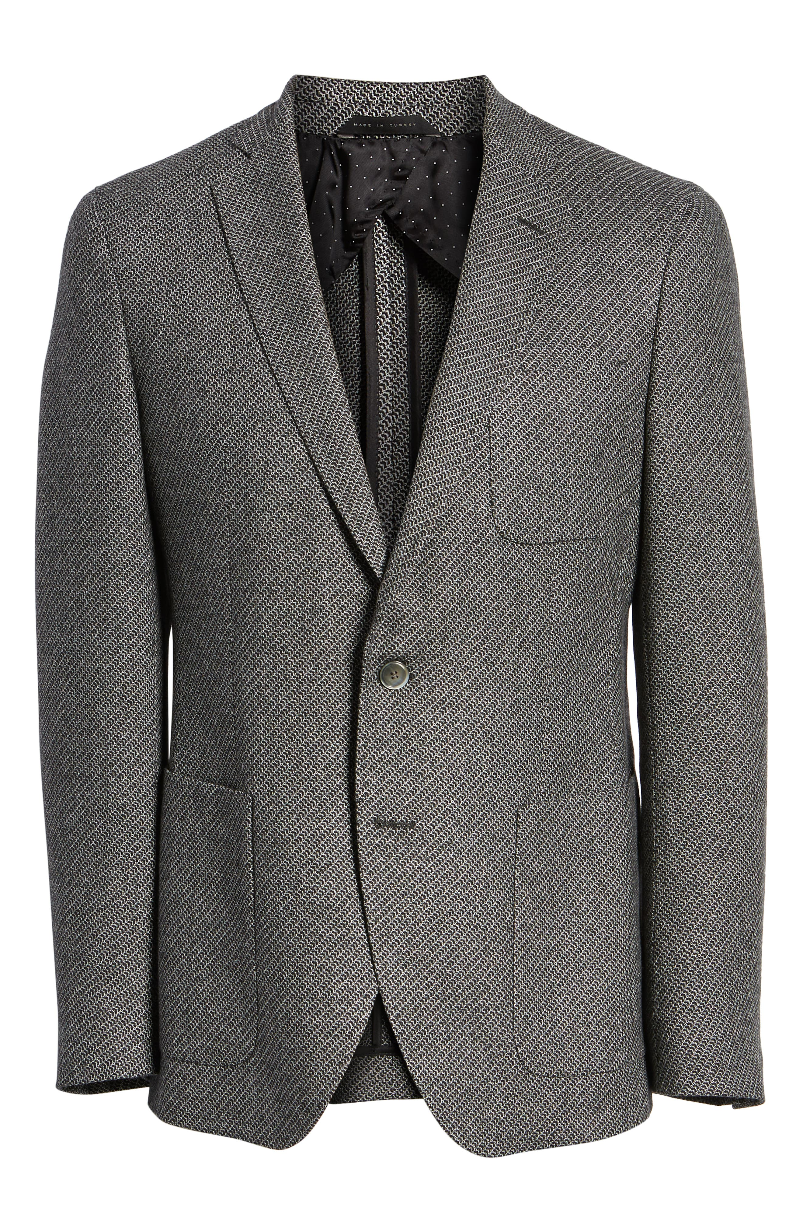 BOSS,                             Raye Extra Trim Fit Wool Blend Sport Coat,                             Alternate thumbnail 5, color,                             DARK GREY