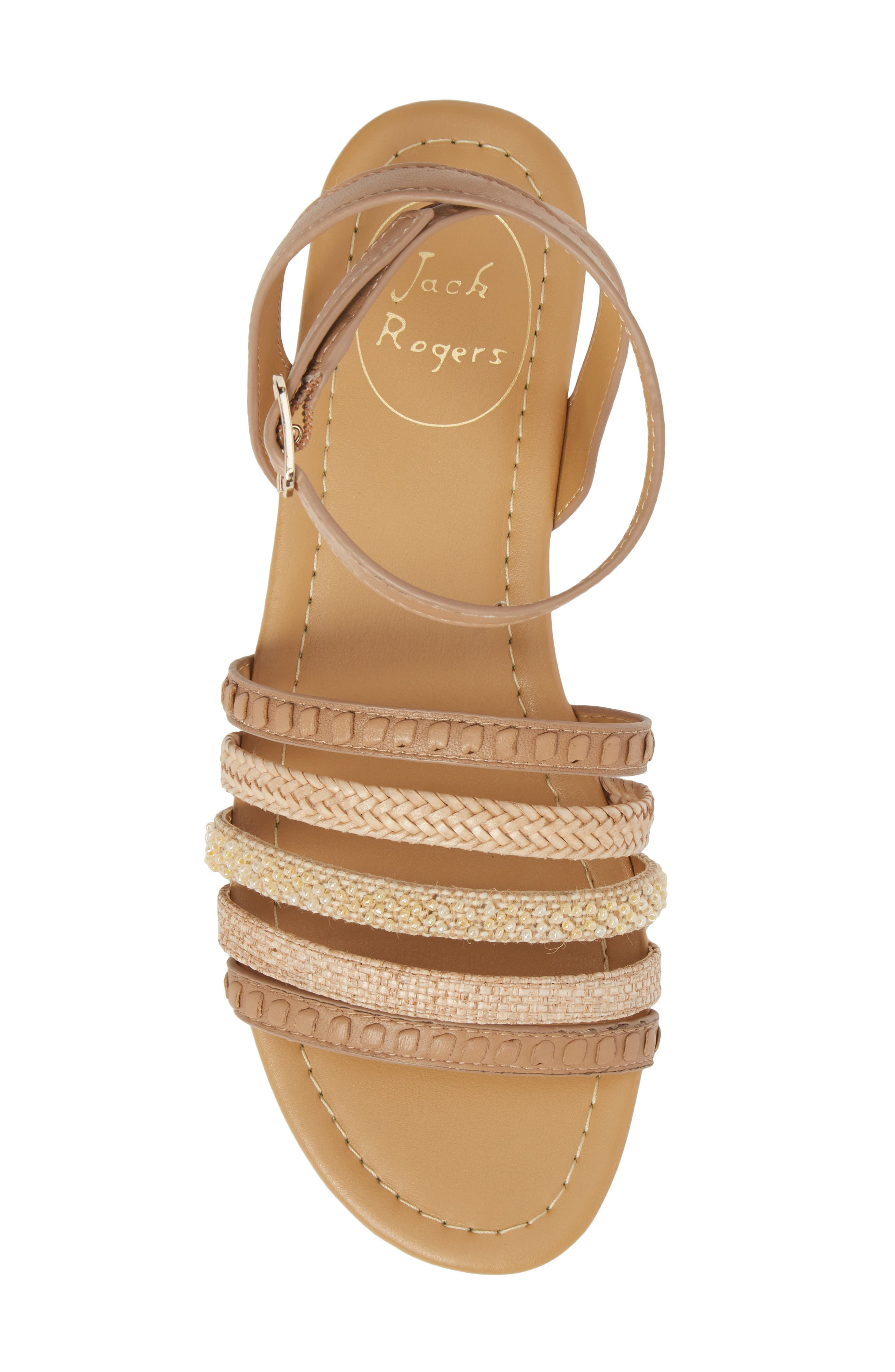 Hannah Braided Embellished Sandal,                             Alternate thumbnail 5, color,                             BUFF LEATHER