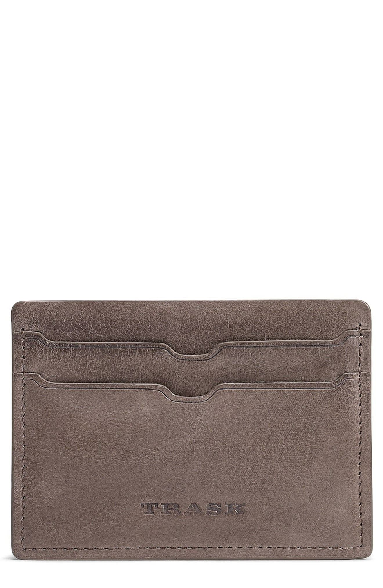 TRASK,                             Canyon Leather Card Case,                             Main thumbnail 1, color,                             GREY