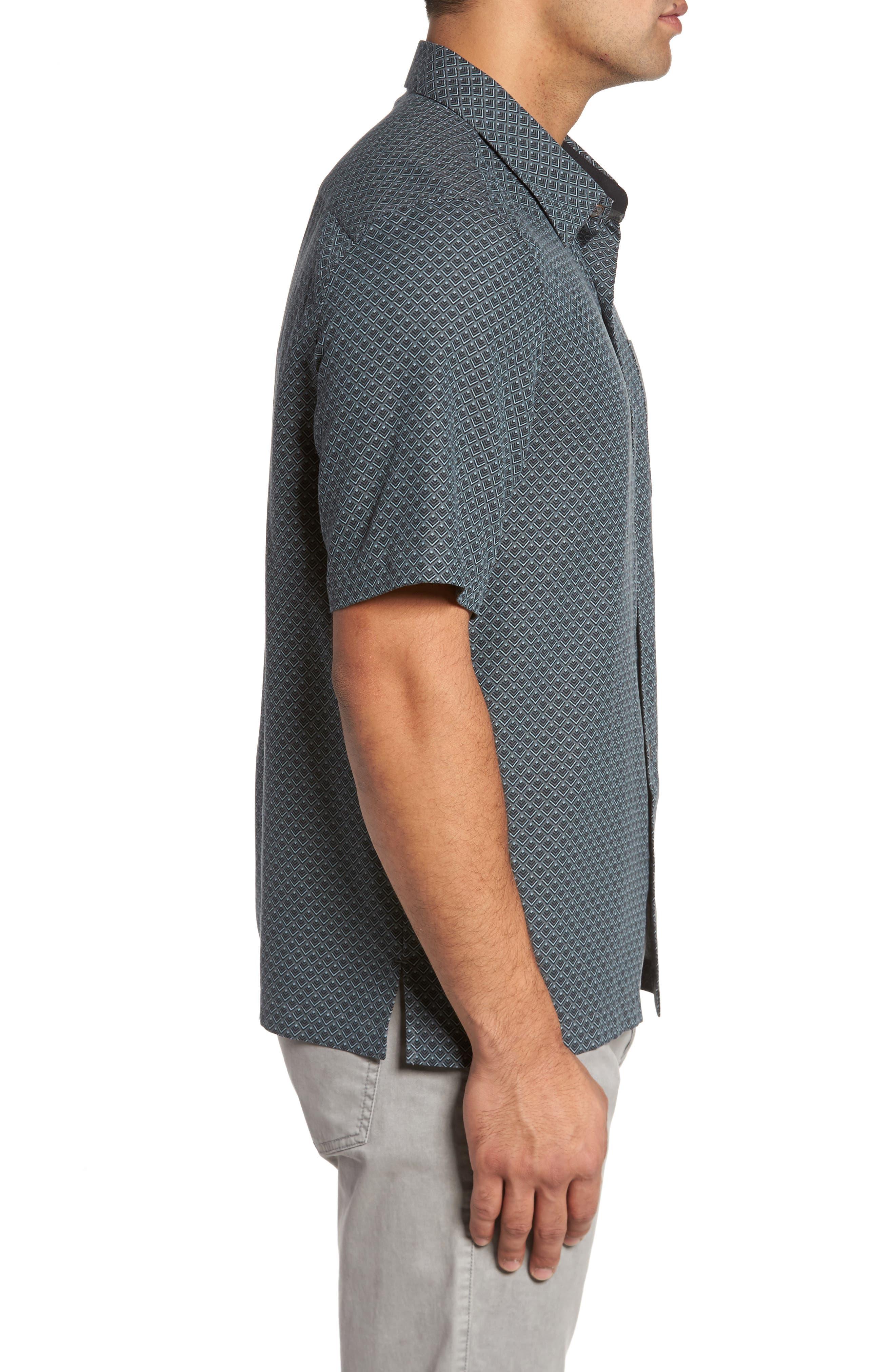Ajax Classic Fit Silk Blend Camp Shirt,                             Alternate thumbnail 3, color,                             001