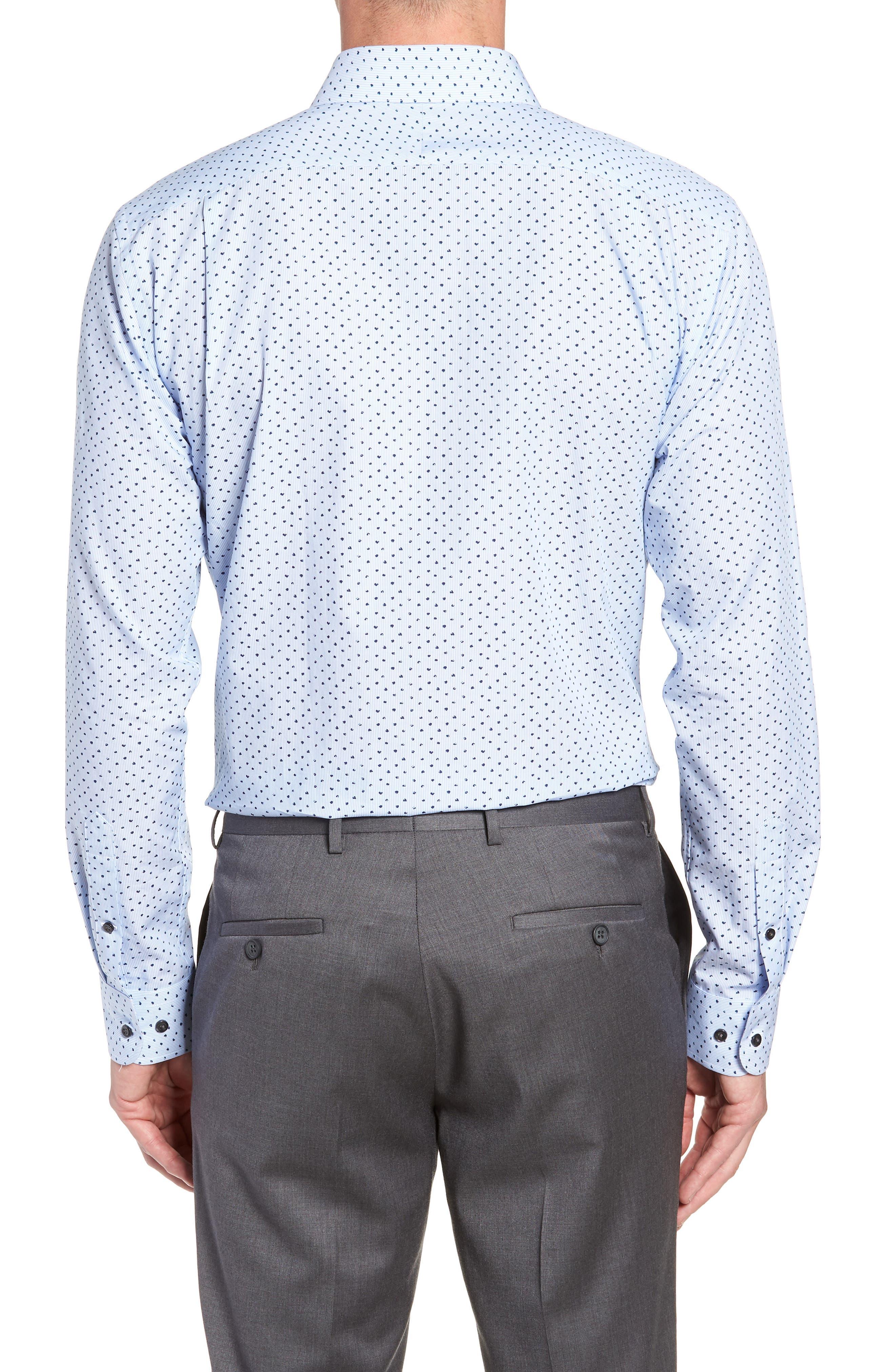 Trim Fit Stripe Dot Dress Shirt,                             Alternate thumbnail 3, color,                             BLUE CORNFLOWER