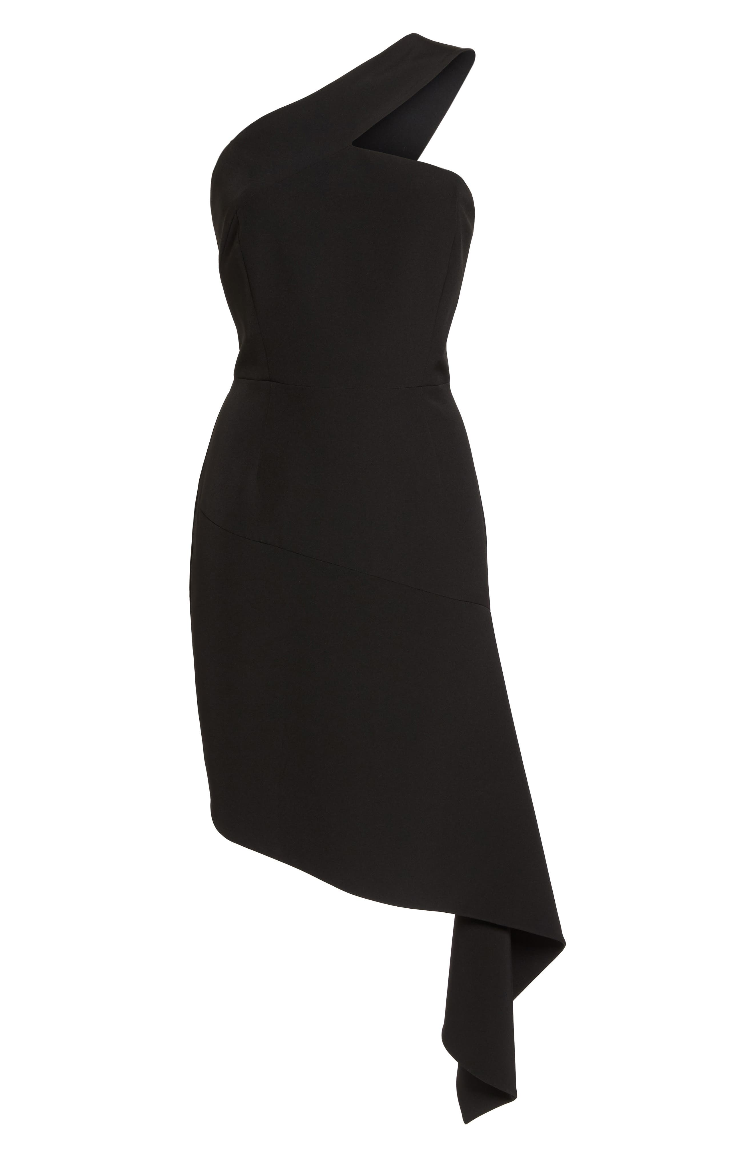 CLOVER AND SLOANE,                             One-Shoulder Asymmetric Dress,                             Alternate thumbnail 6, color,                             001