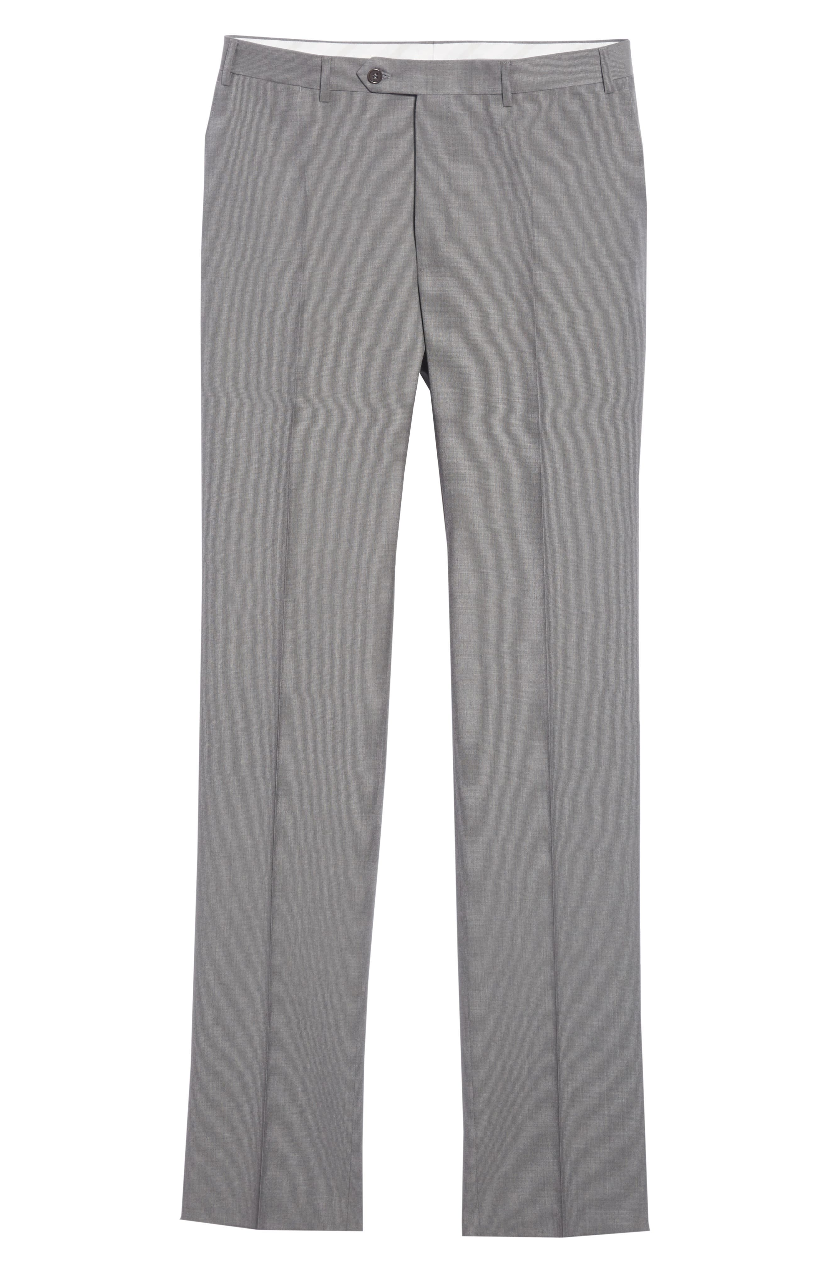 Micro Dot Regular Fit Flat Front Wool Trousers,                             Alternate thumbnail 6, color,                             020