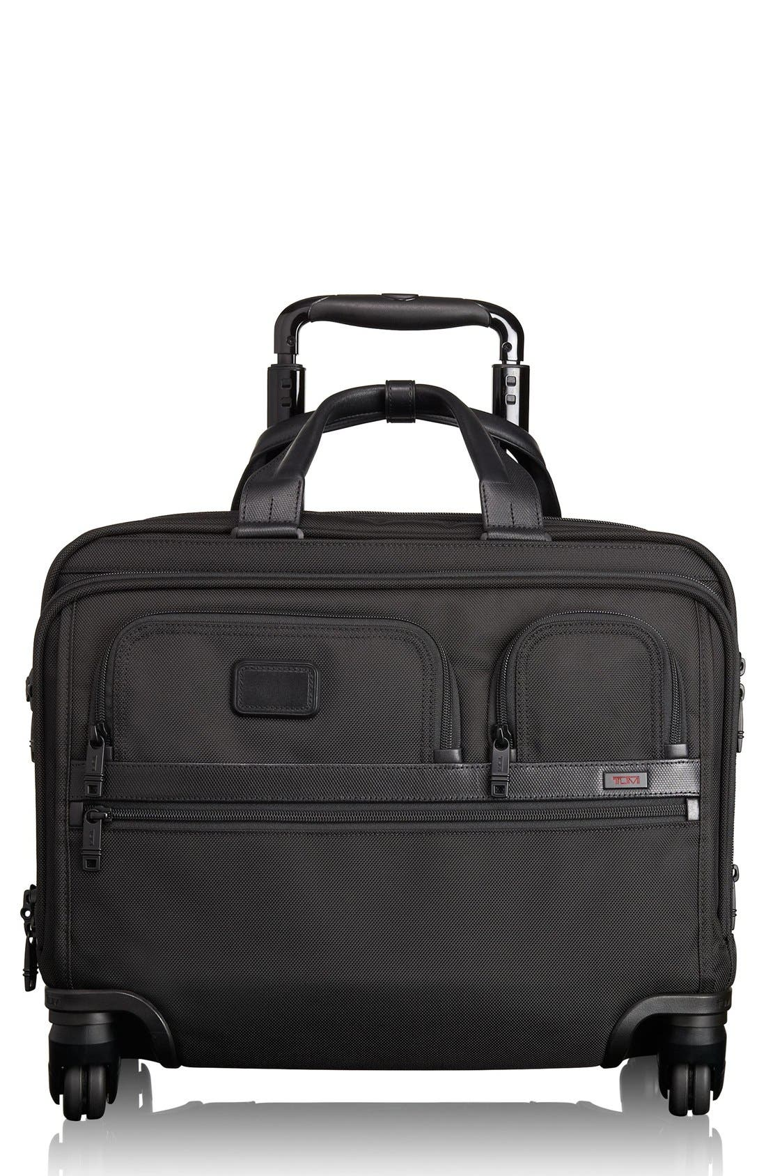 Alpha 2 Deluxe Wheeled Briefcase,                         Main,                         color, BLACK