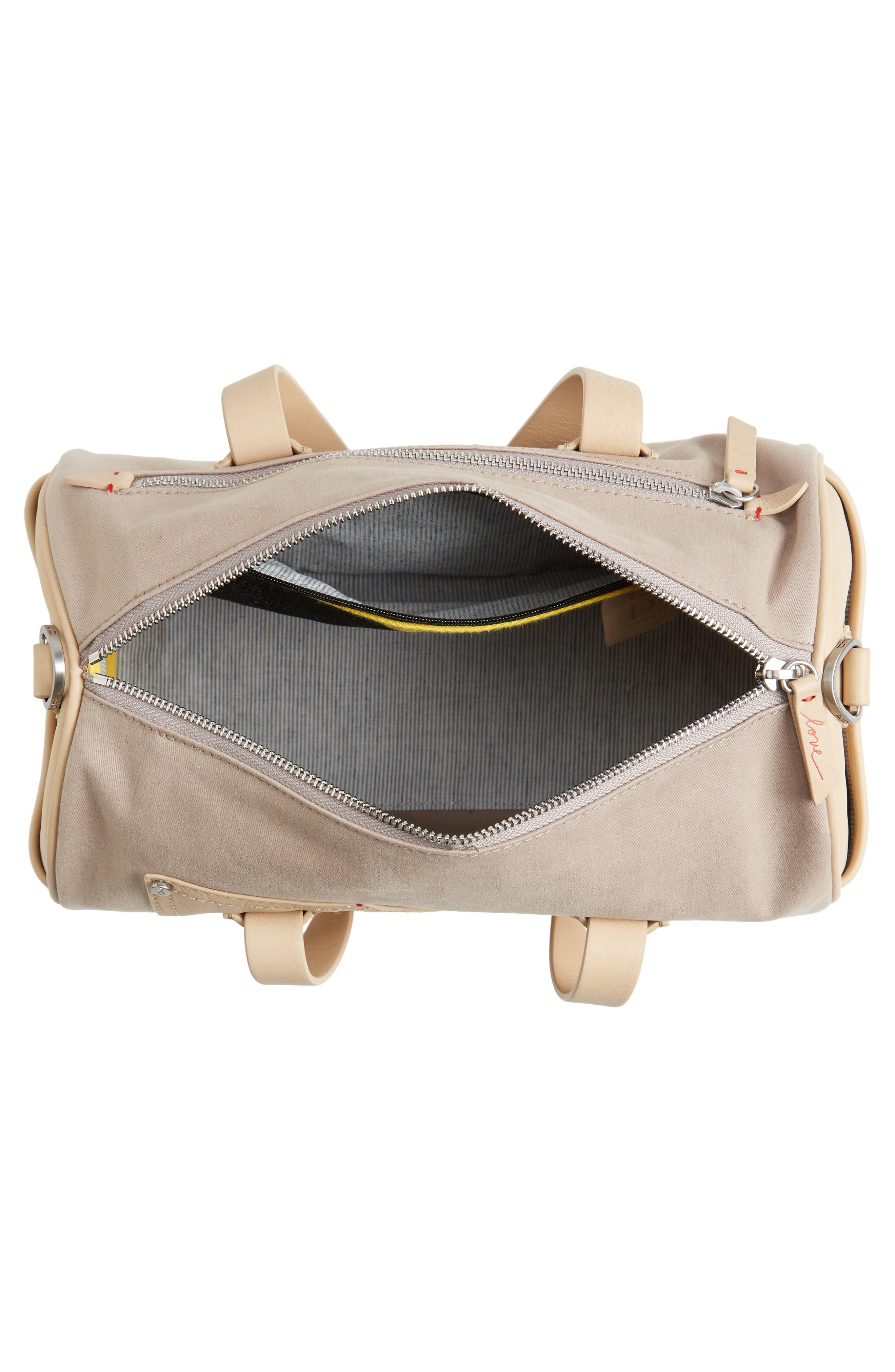 Mini Carml Leather & Canvas Barrel Bag,                             Alternate thumbnail 4, color,                             050