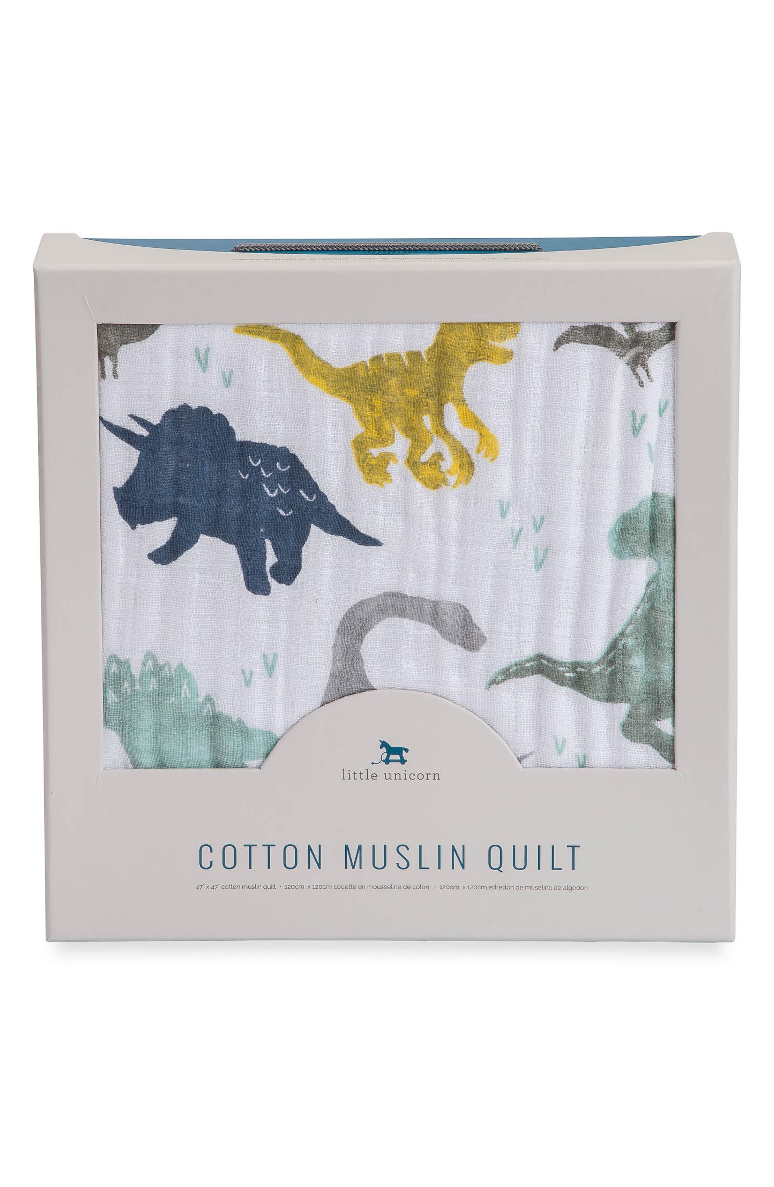 Cotton Muslin Quilt,                             Alternate thumbnail 2, color,                             DINO FRIENDS