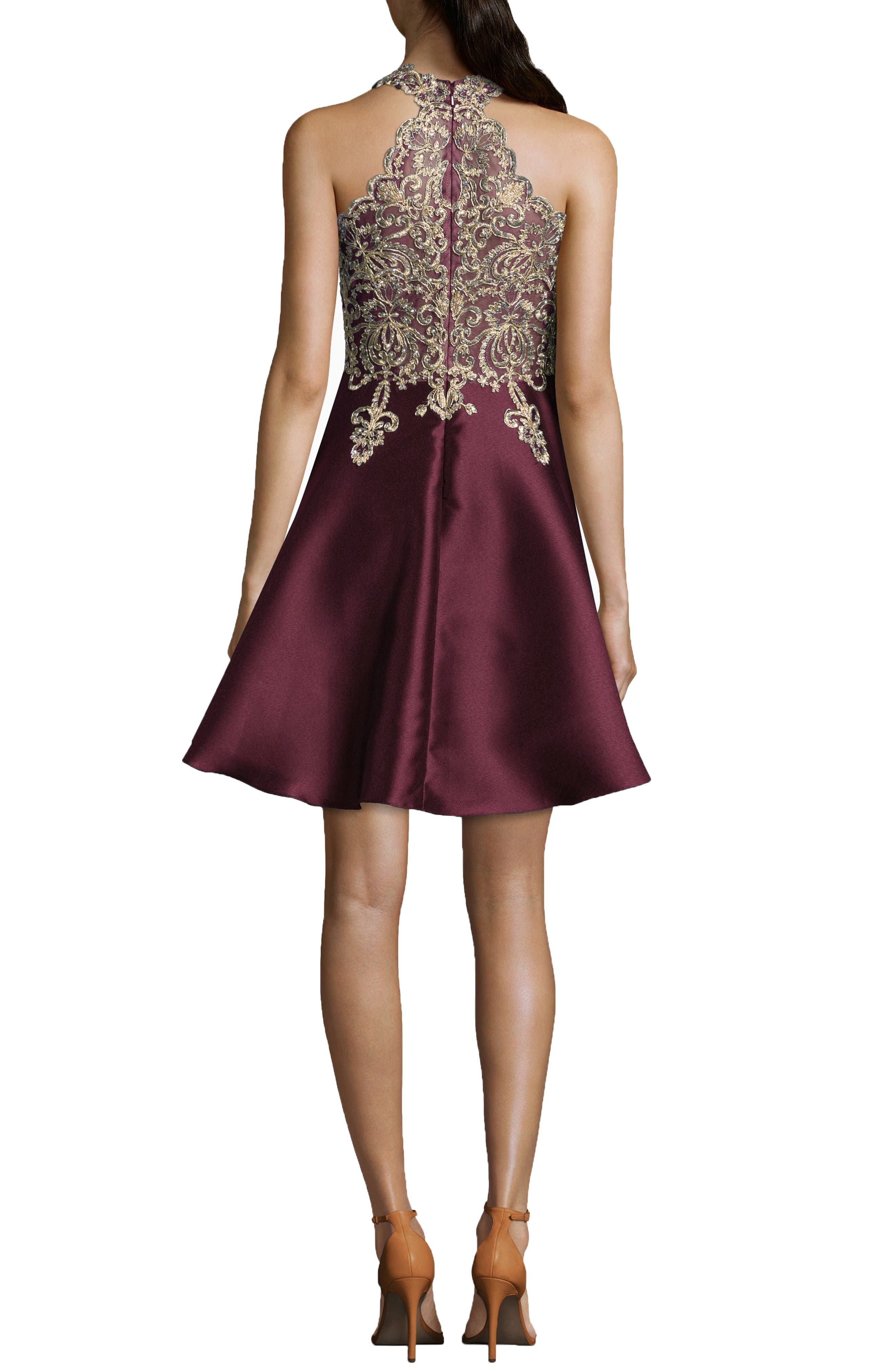 Embellished Embroidered Mikado Party Dress,                             Alternate thumbnail 2, color,                             WINE GOLD