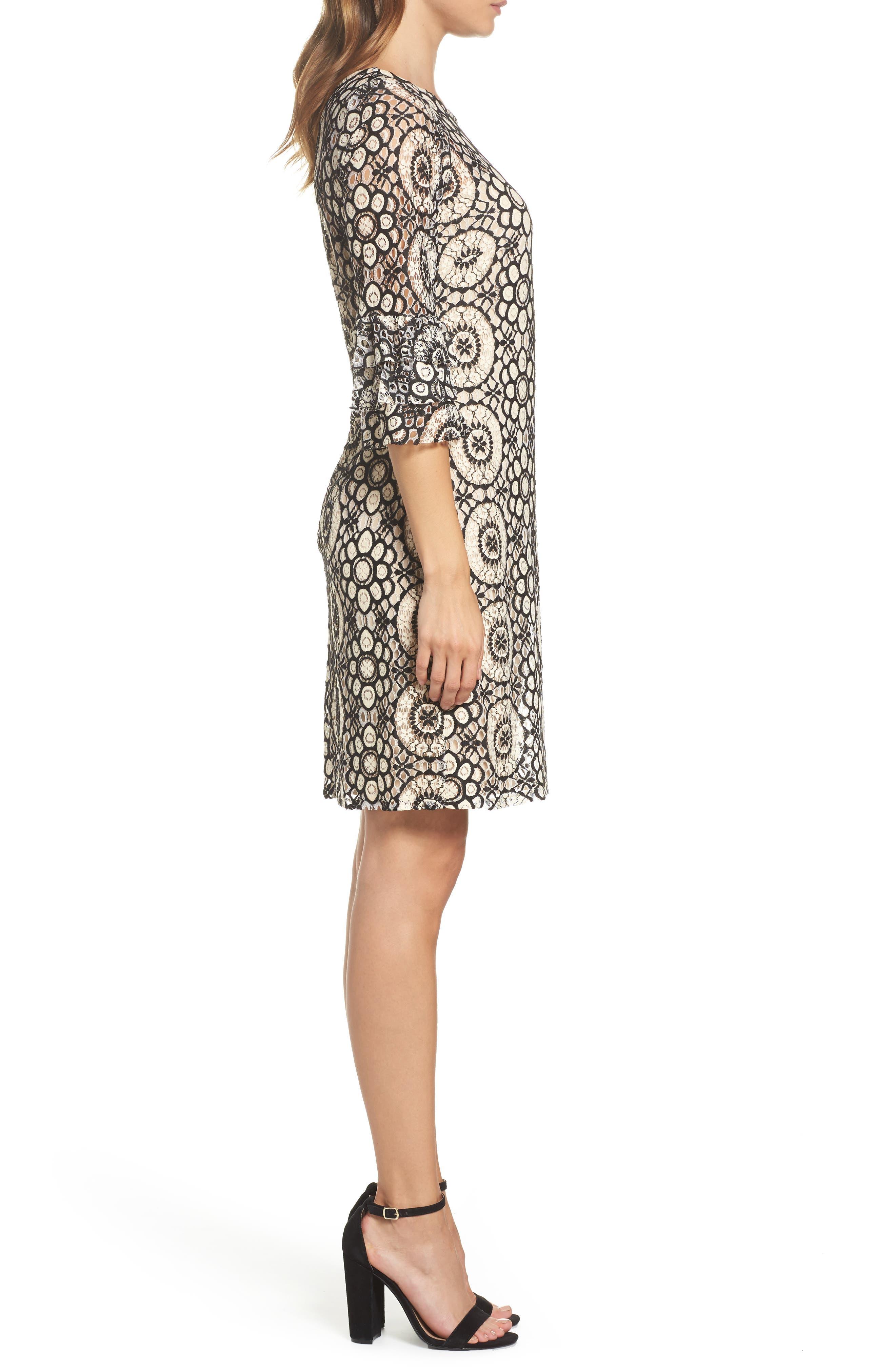 Tiered Sleeve Lace Shift Dress,                             Alternate thumbnail 3, color,                             901
