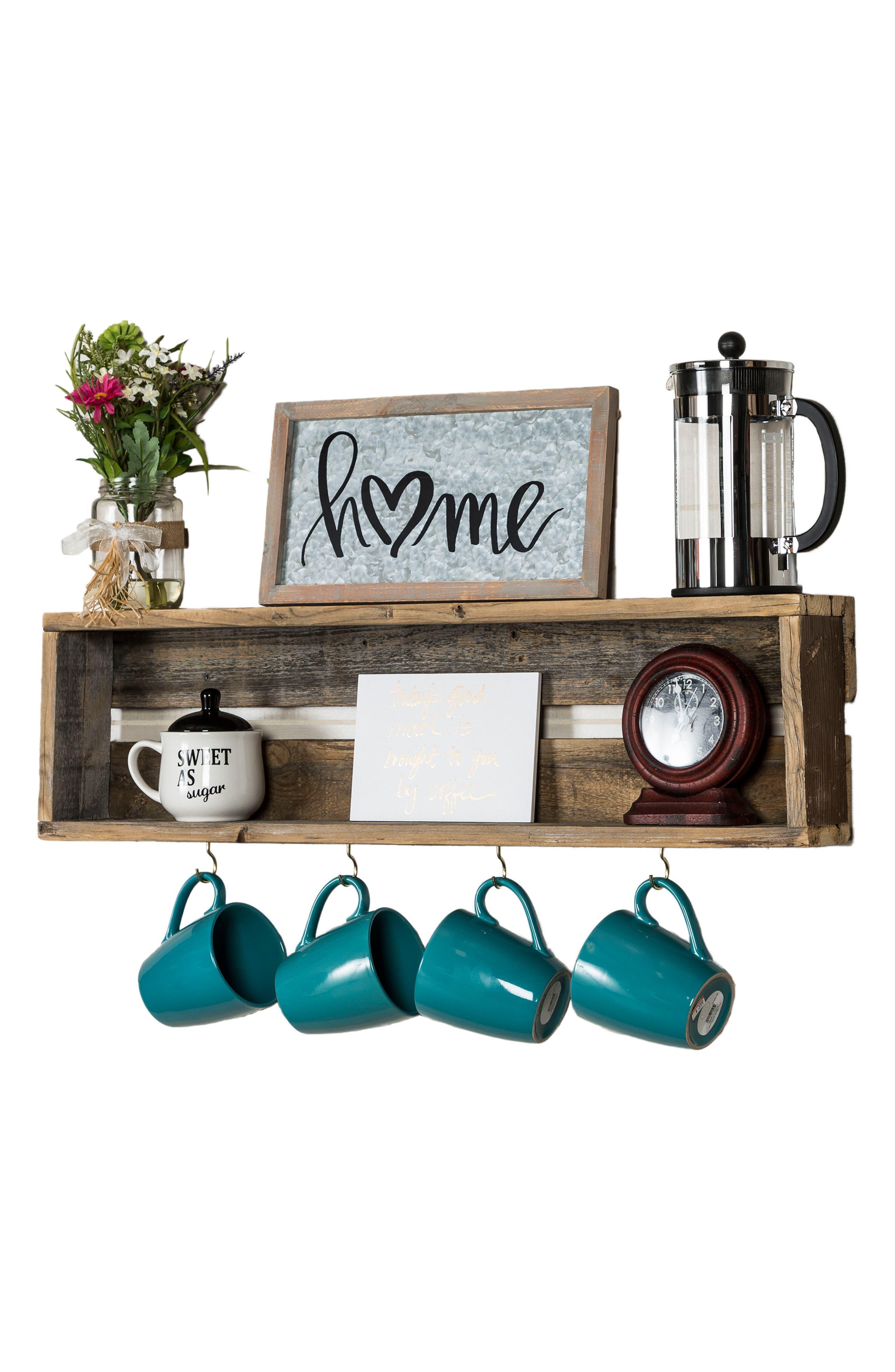 Repurposed Wood Shelf with Hooks,                             Alternate thumbnail 9, color,                             200