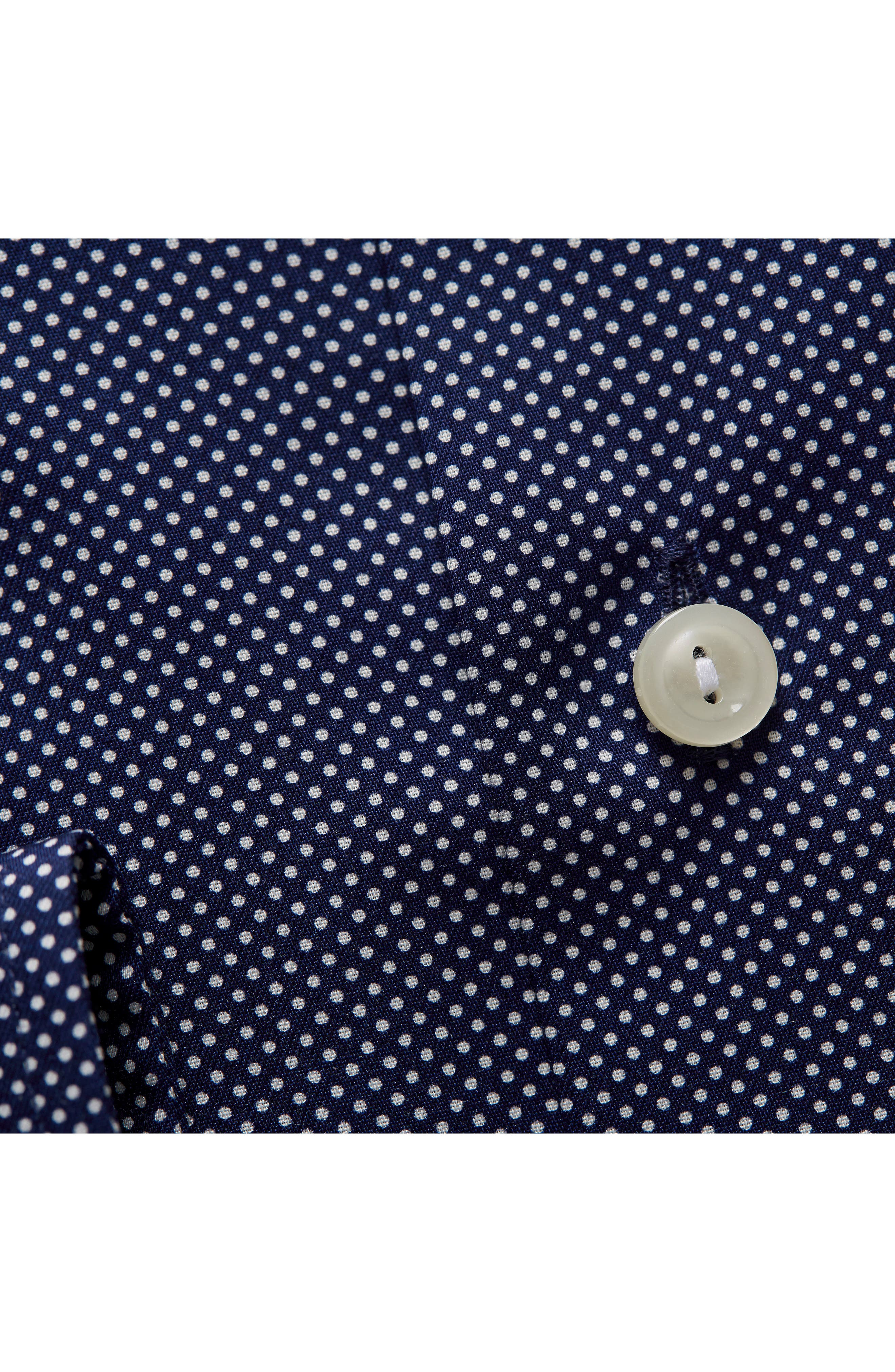 Contemporary Fit Signature Polka Dot Dress Shirt,                             Alternate thumbnail 3, color,                             BLUE