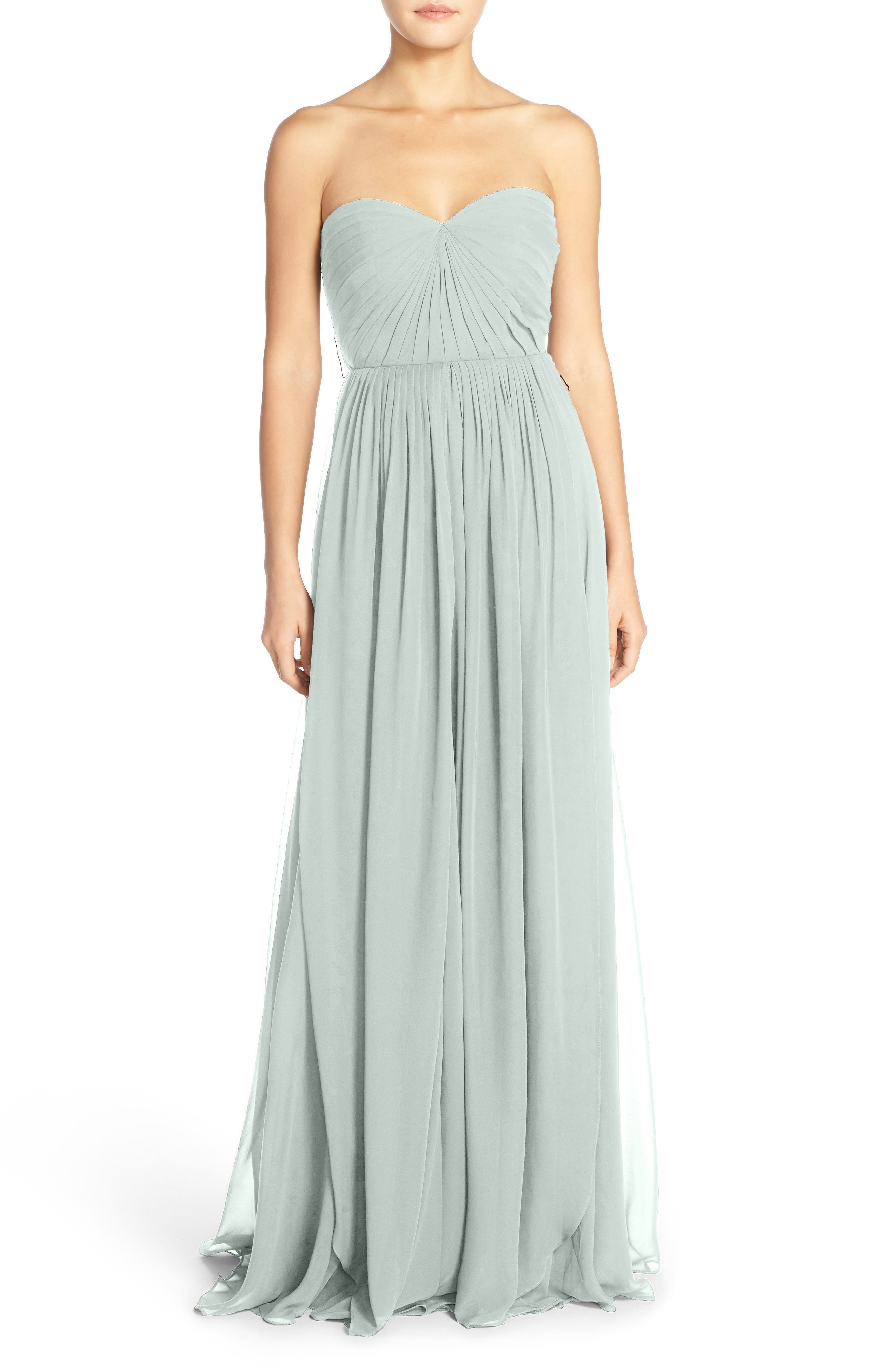 Mira Convertible Strapless Chiffon Gown,                             Alternate thumbnail 2, color,                             MORNING MIST