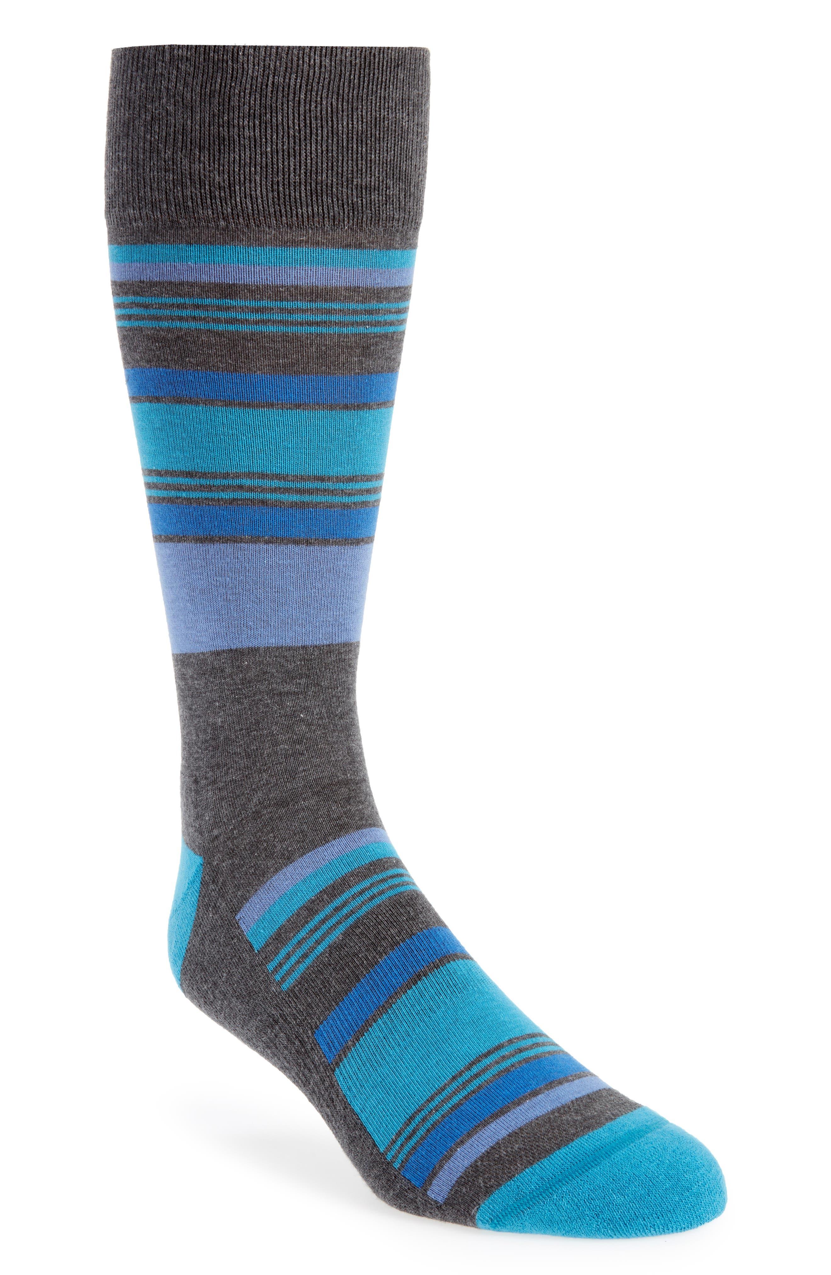 Mixed Uneven Stripe Socks,                             Main thumbnail 1, color,                             BLUE/ CHARCOAL