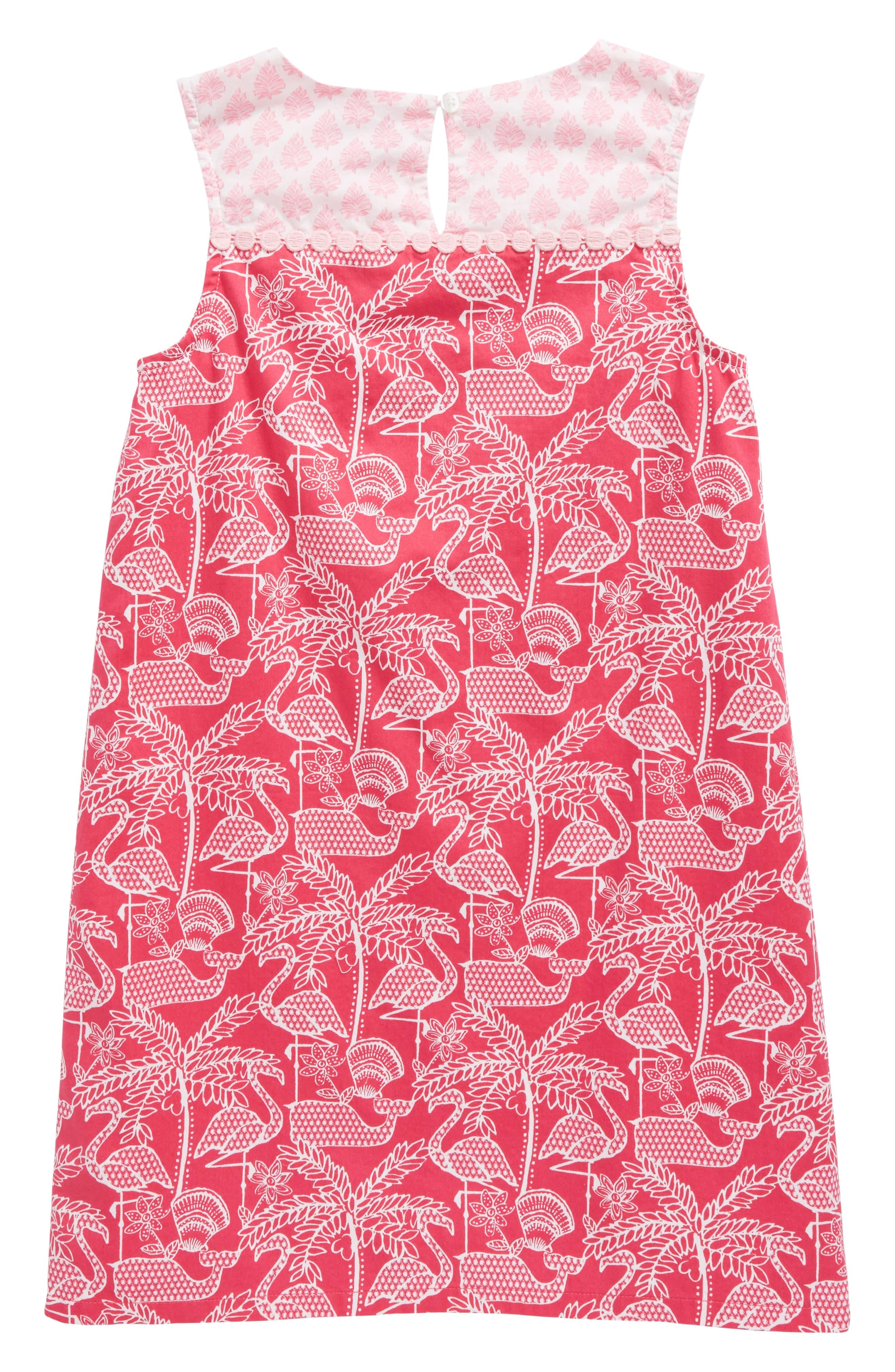 Flamingo Print Shift Dress,                             Alternate thumbnail 2, color,                             658