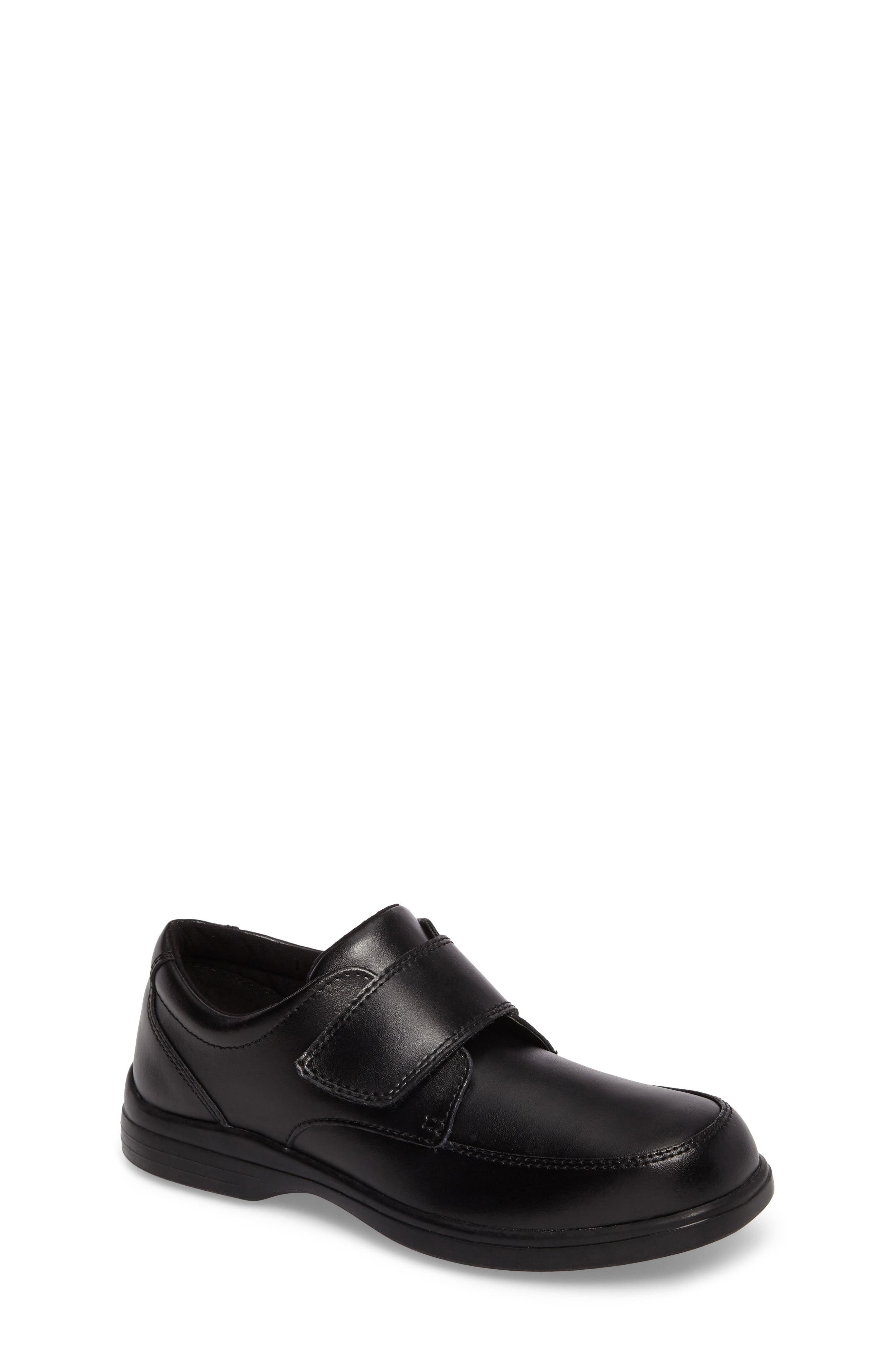 Hush Puppies Gavin Front Strap Dress Shoe,                         Main,                         color, BLACK LEATHER