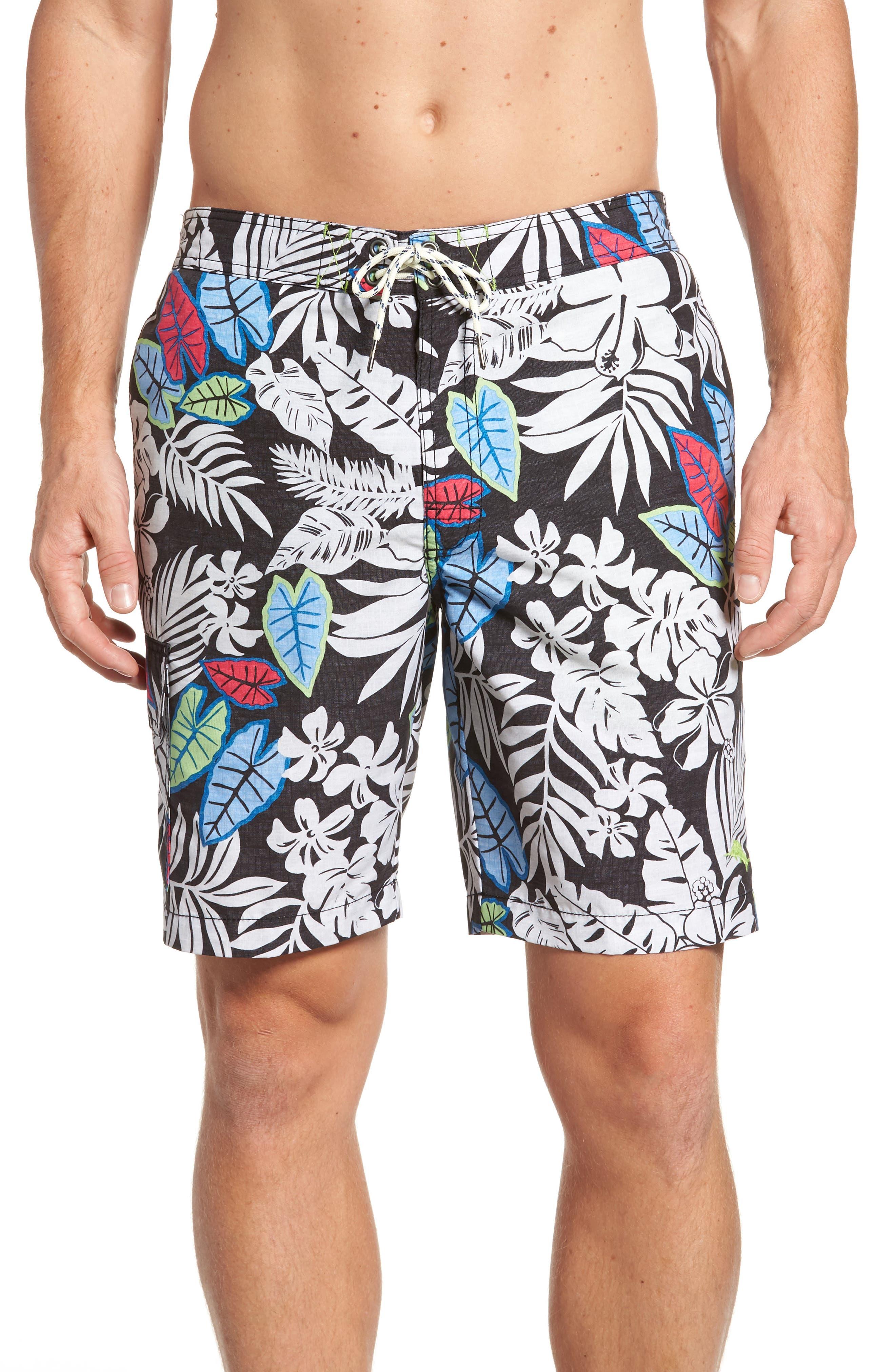 Baja Luau Leaves Board Shorts,                             Main thumbnail 1, color,                             001