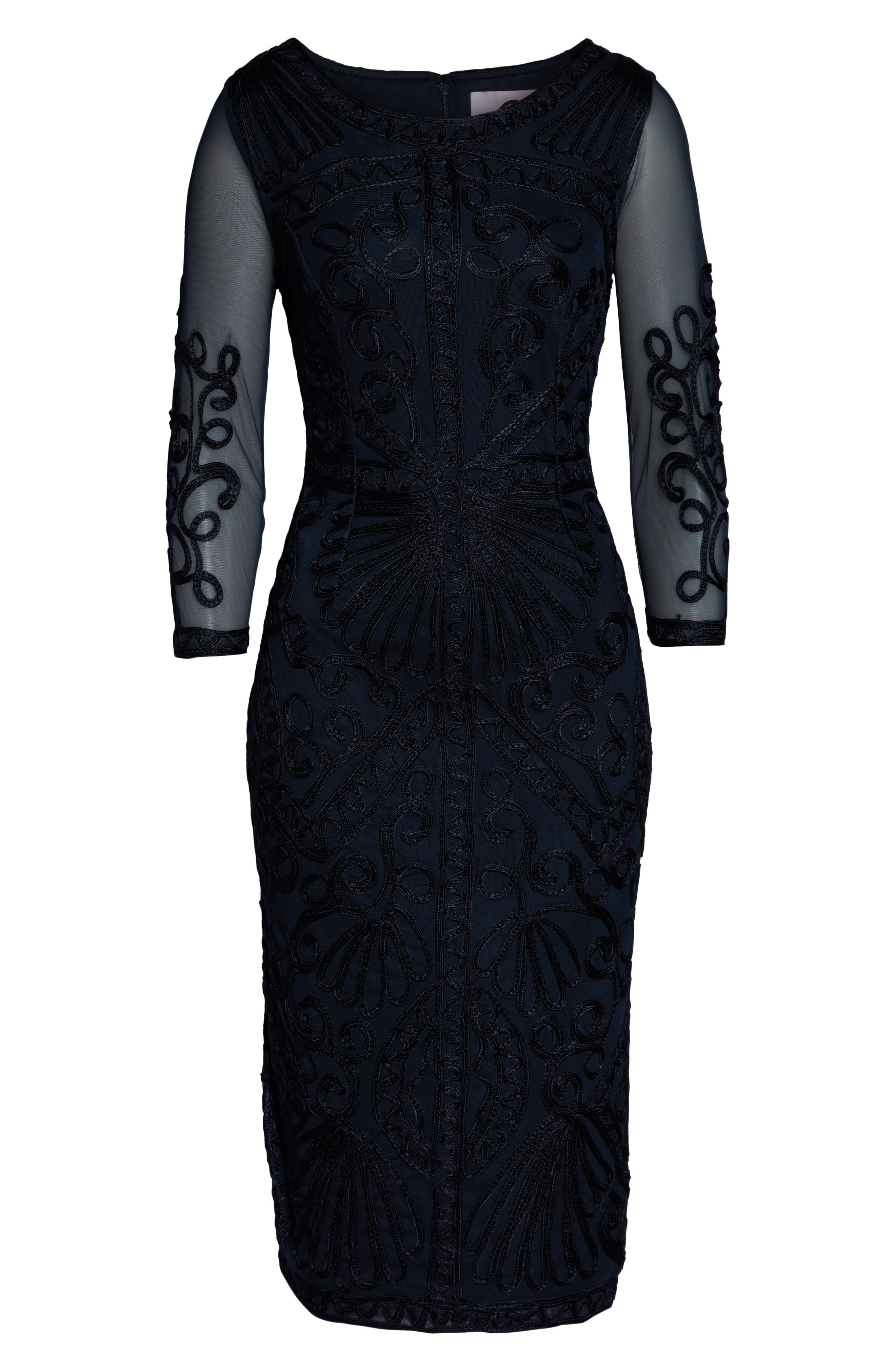 JS COLLECTIONS,                             Sheer Sleeve Soutache Sheath Dress,                             Alternate thumbnail 3, color,                             NAVY