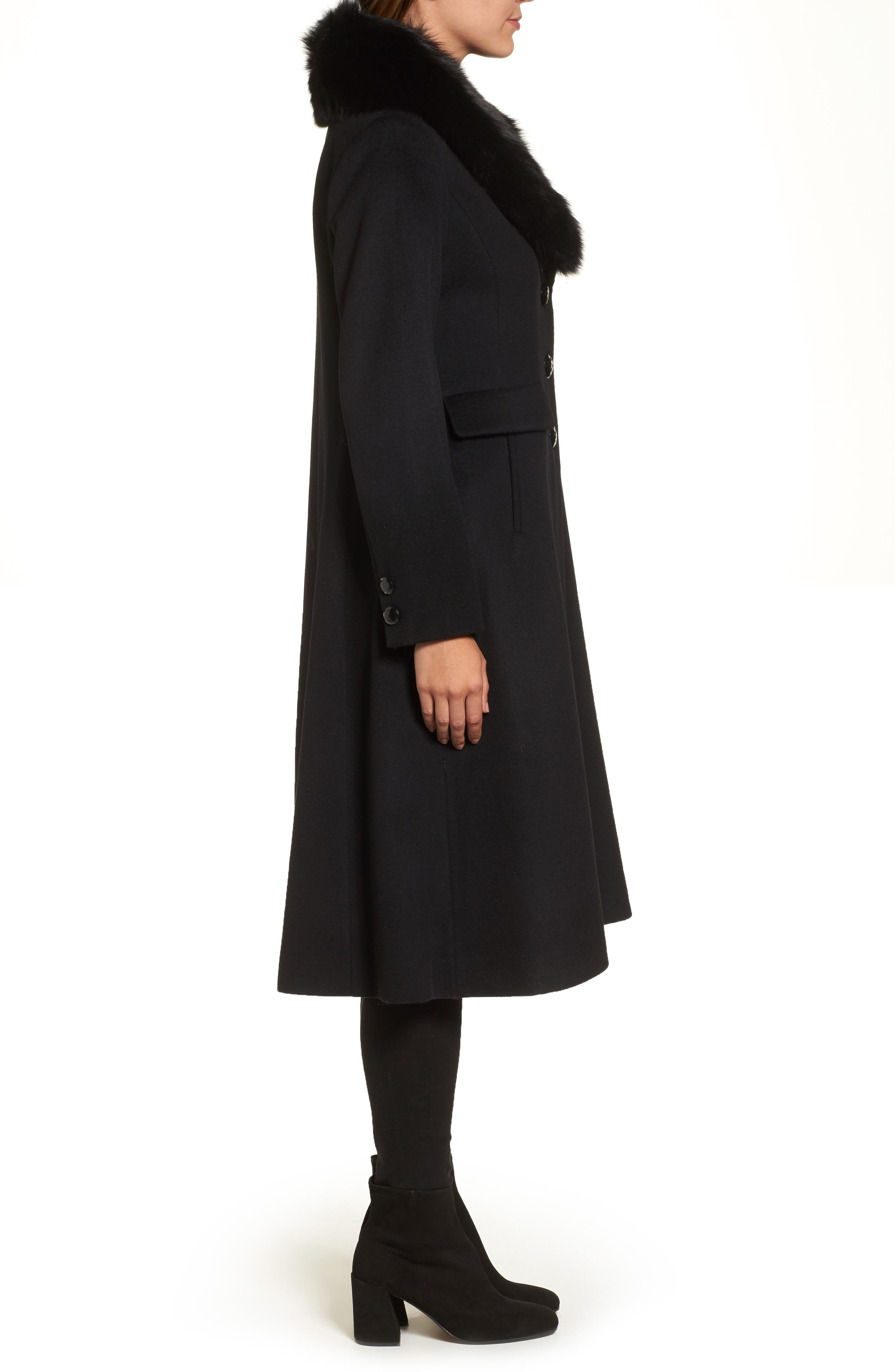 Couture Long Wool Blend Coat with Genuine Fox Fur Collar,                             Alternate thumbnail 3, color,                             001