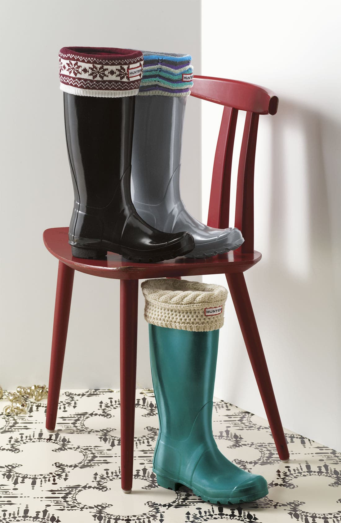 'Moss Cable' Tall Cuff Welly Socks,                             Alternate thumbnail 2, color,                             001
