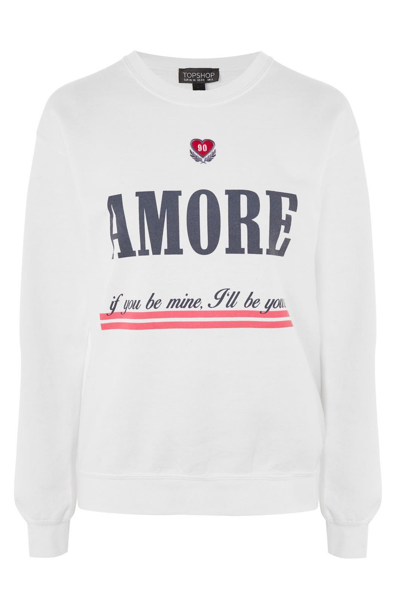 Embroidered Amore Sweatshirt,                             Alternate thumbnail 3, color,                             100