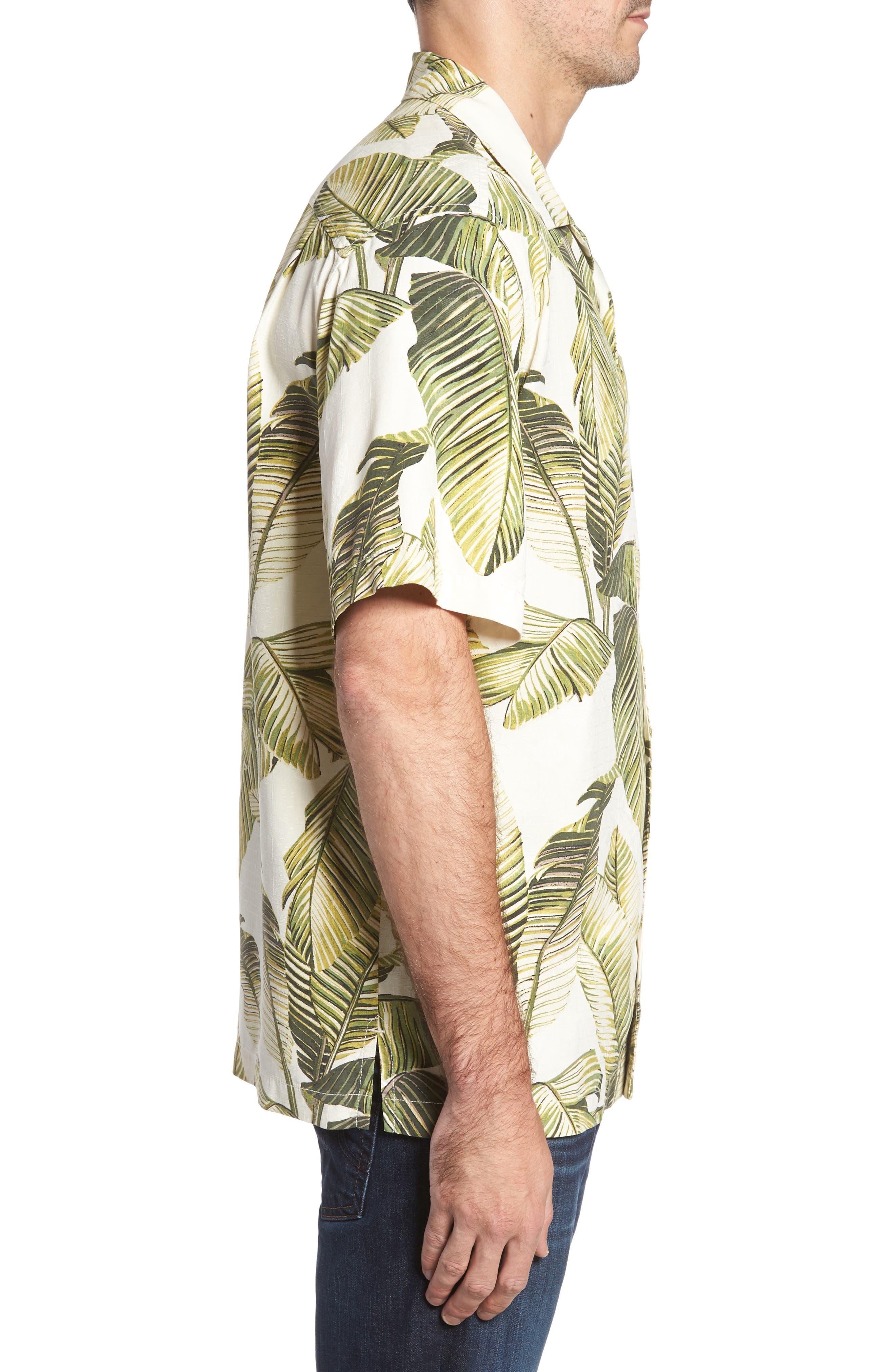 Cascara Fronds Classic Fit Silk Camp Shirt,                             Alternate thumbnail 3, color,                             100