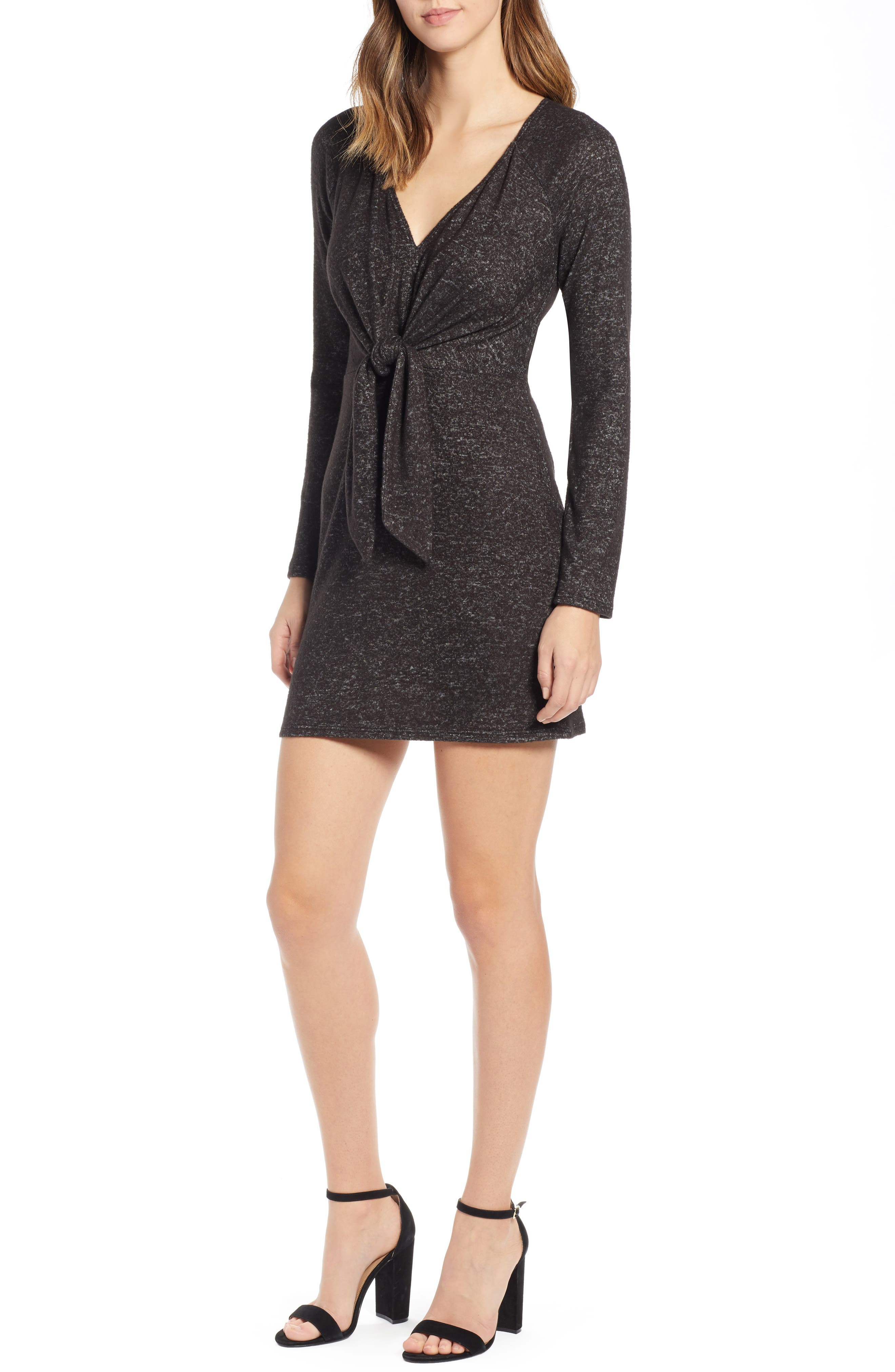 Socialite Tie Front Sheath Dress, Black