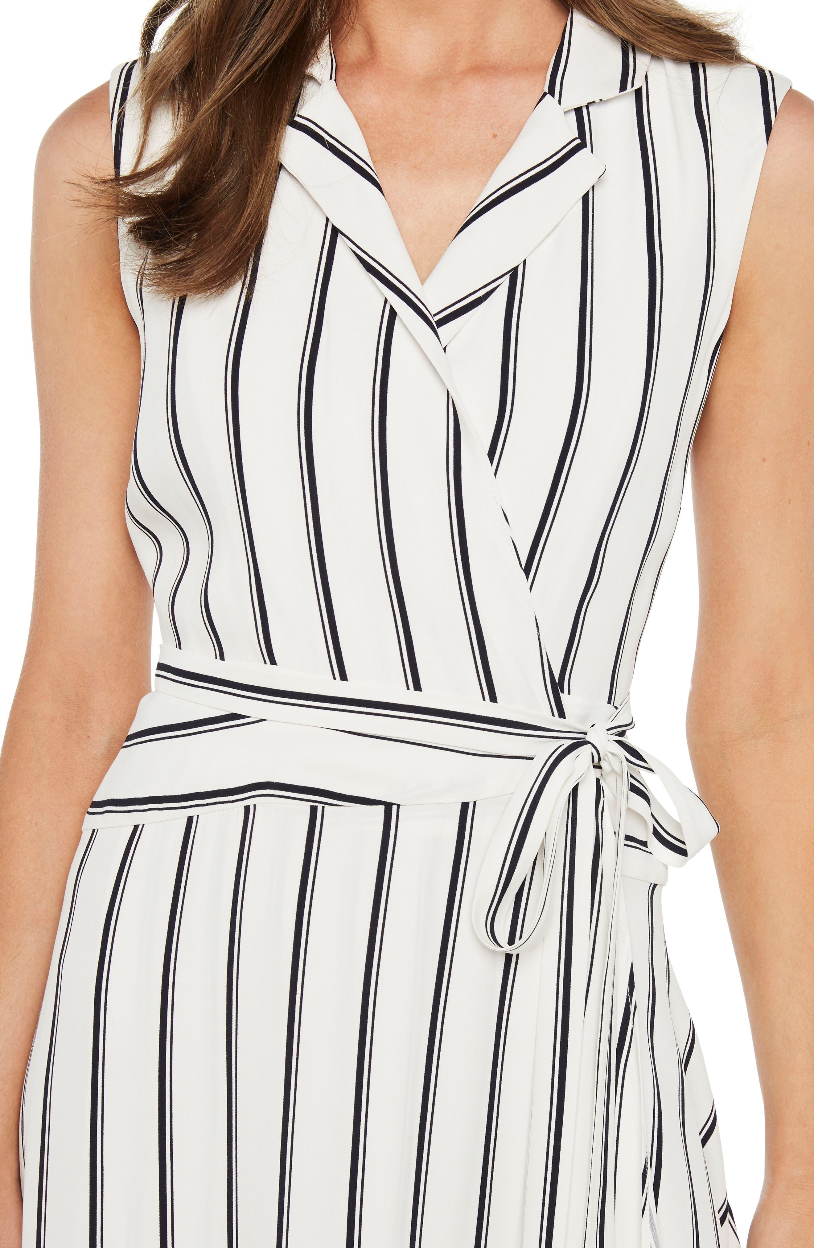 Salina Stripe Asymmetric Wrap Dress,                             Alternate thumbnail 4, color,                             162