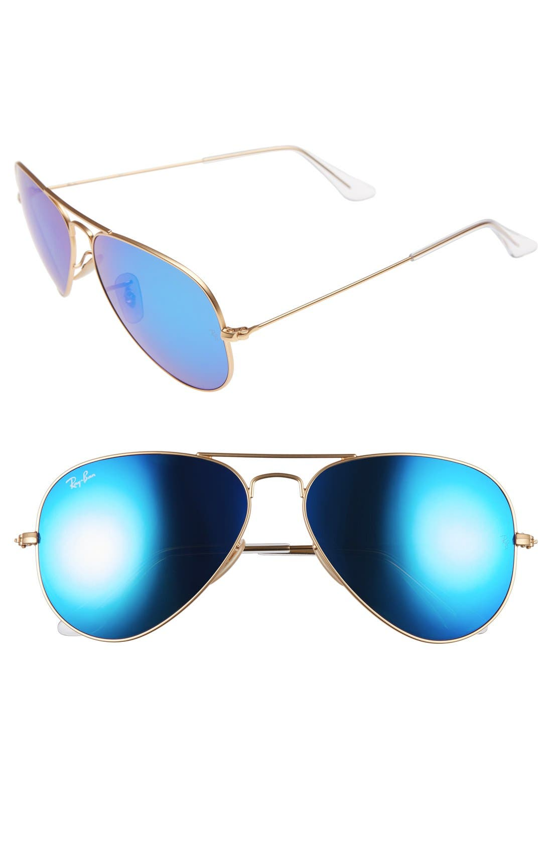Original Aviator 58mm Sunglasses,                             Alternate thumbnail 3, color,                             MATTE GOLD/ BLUE MIRROR