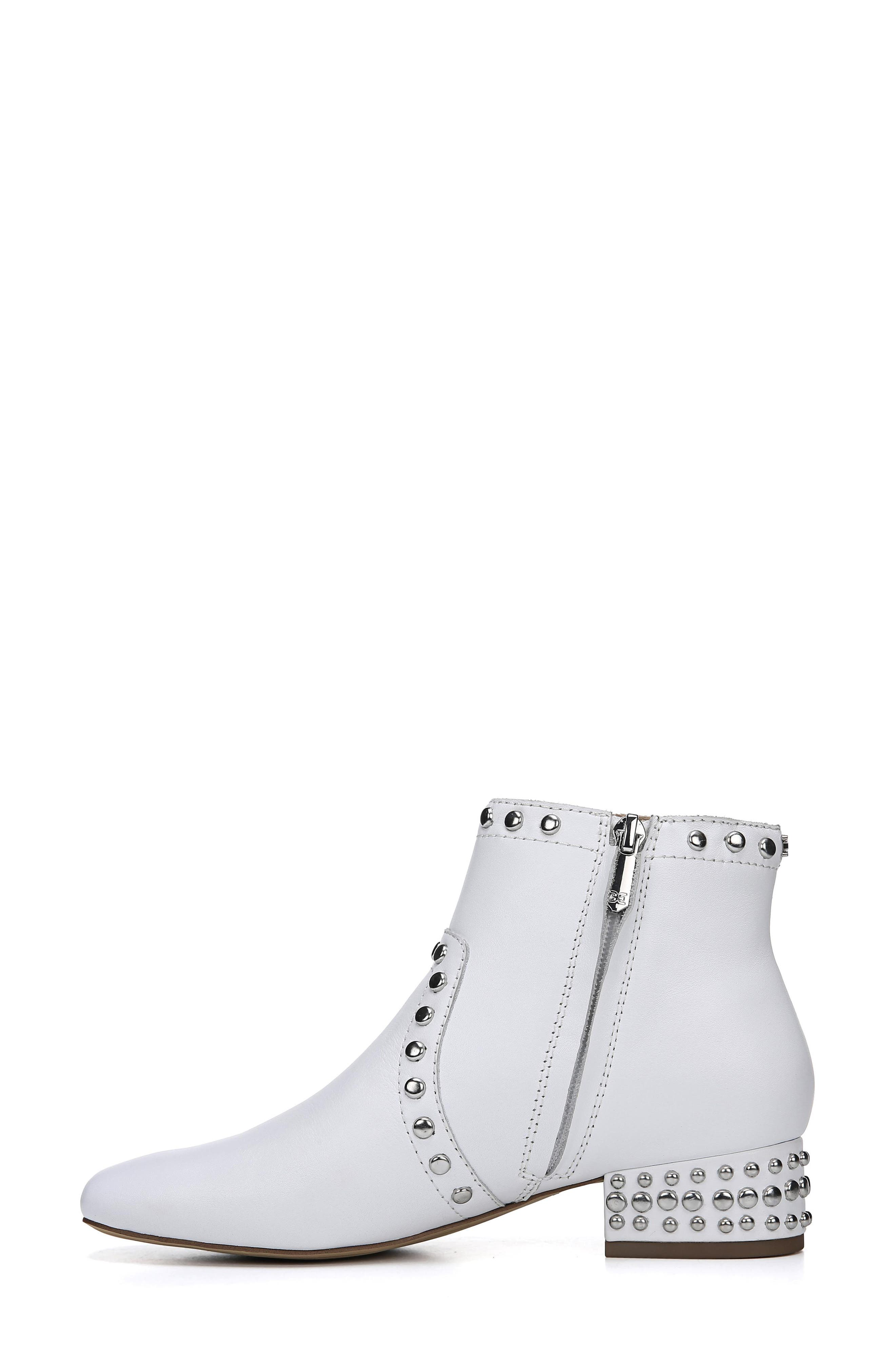Lorin Studded Bootie,                             Alternate thumbnail 8, color,                             WHITE LEATHER