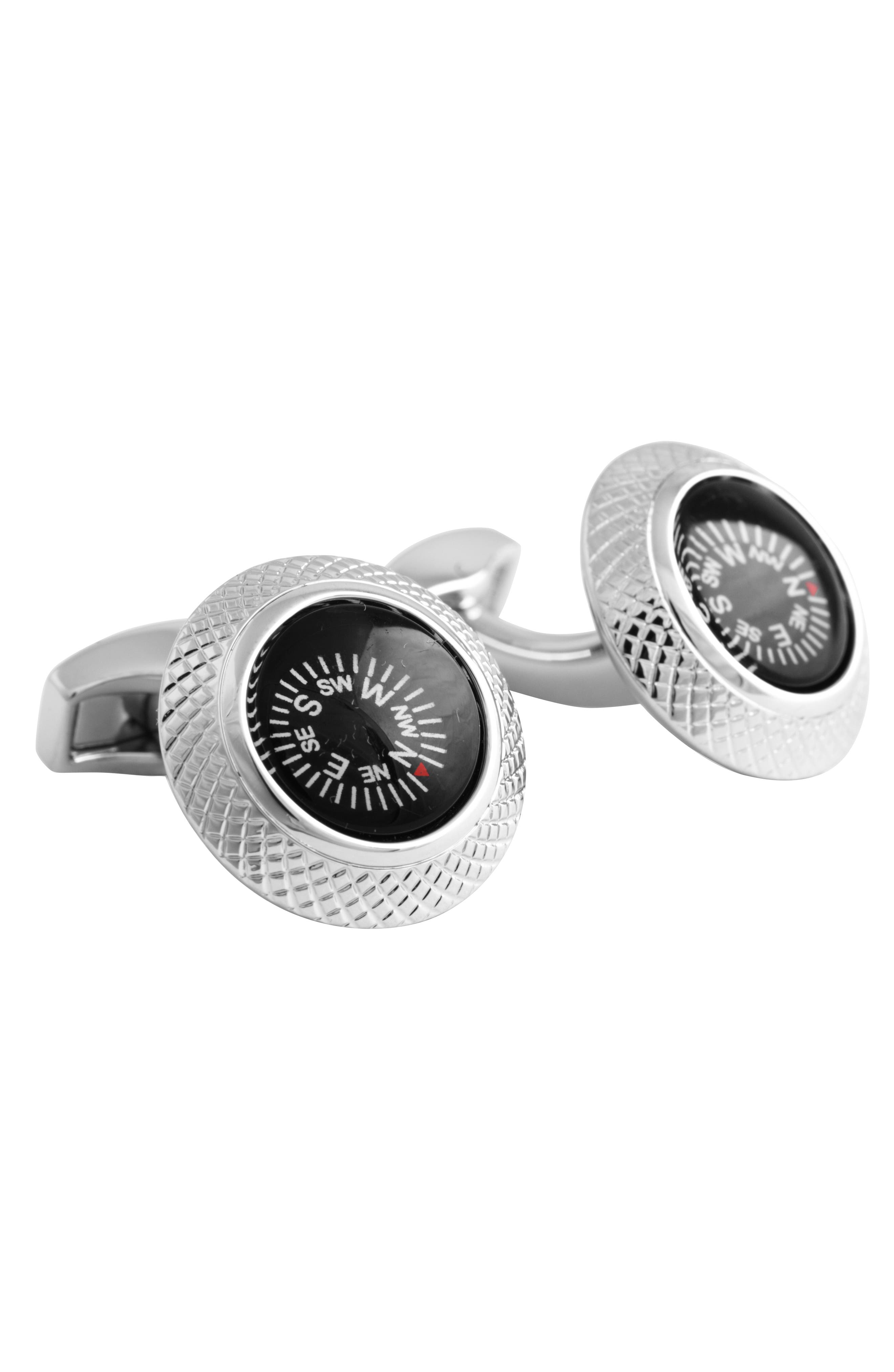 'Compass' Cuff Links,                             Alternate thumbnail 2, color,                             RHODIUM/ BLACK
