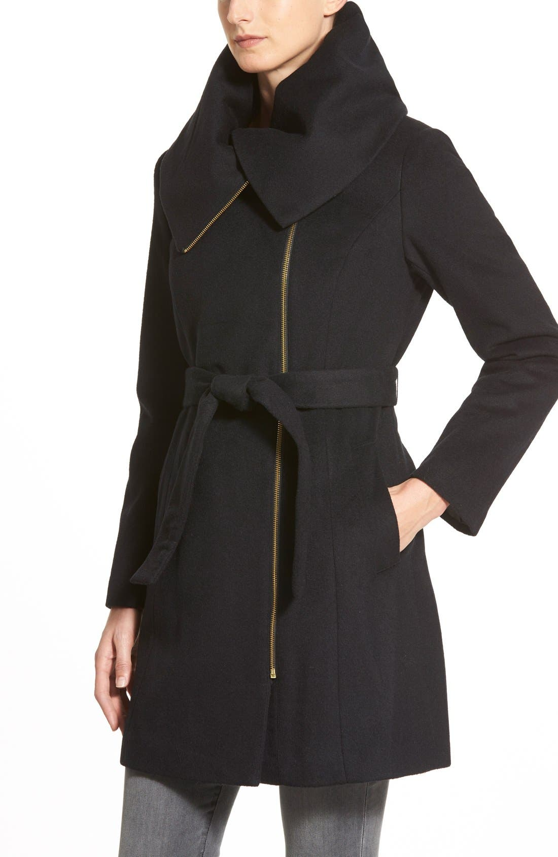 Cole Haan Signature Belted Asymmetrical Wool Blend Coat,                             Alternate thumbnail 2, color,                             001