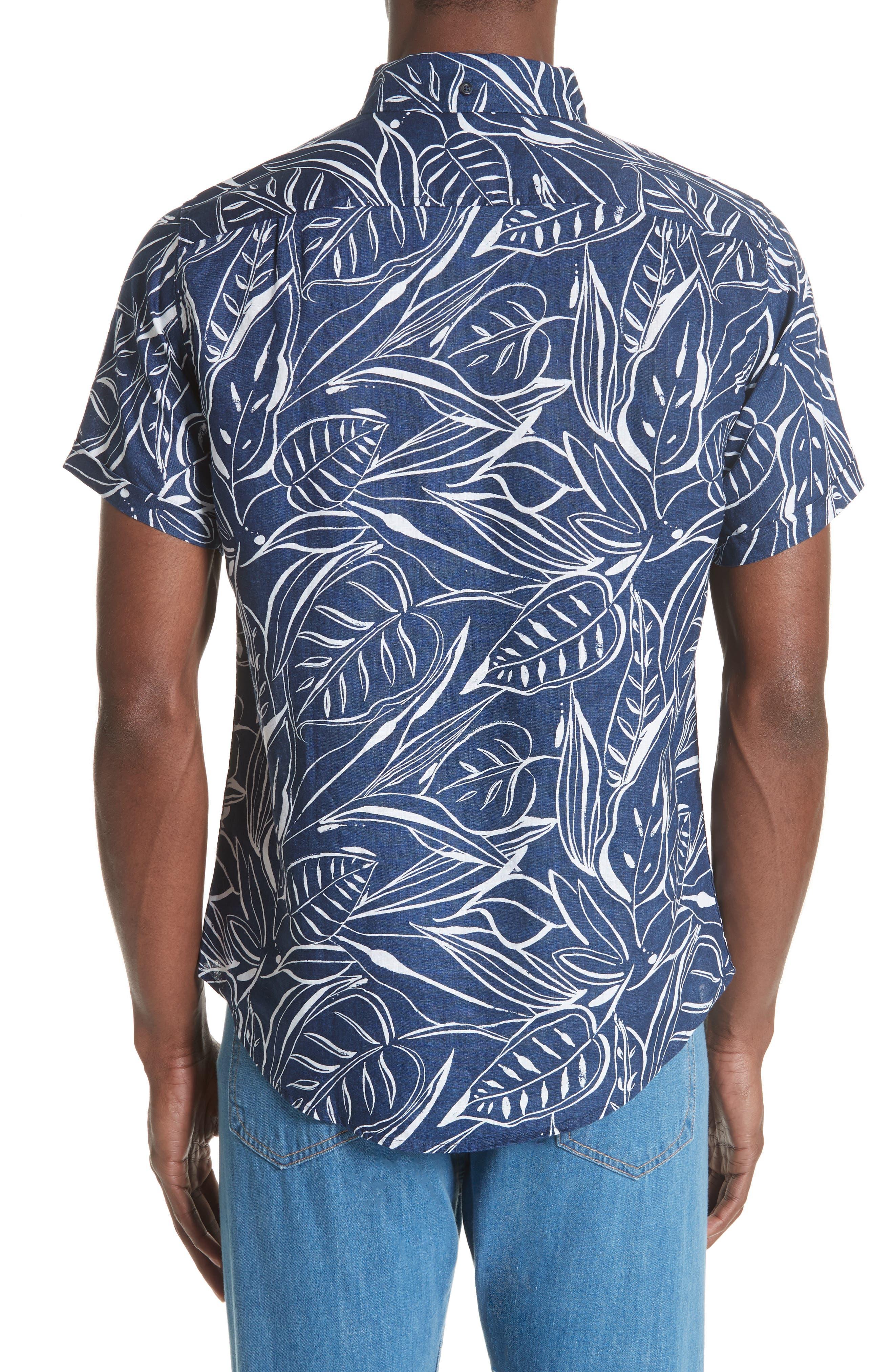 Jack Palm Print Linen Shirt,                             Alternate thumbnail 2, color,                             DEEP NAVY WHITE
