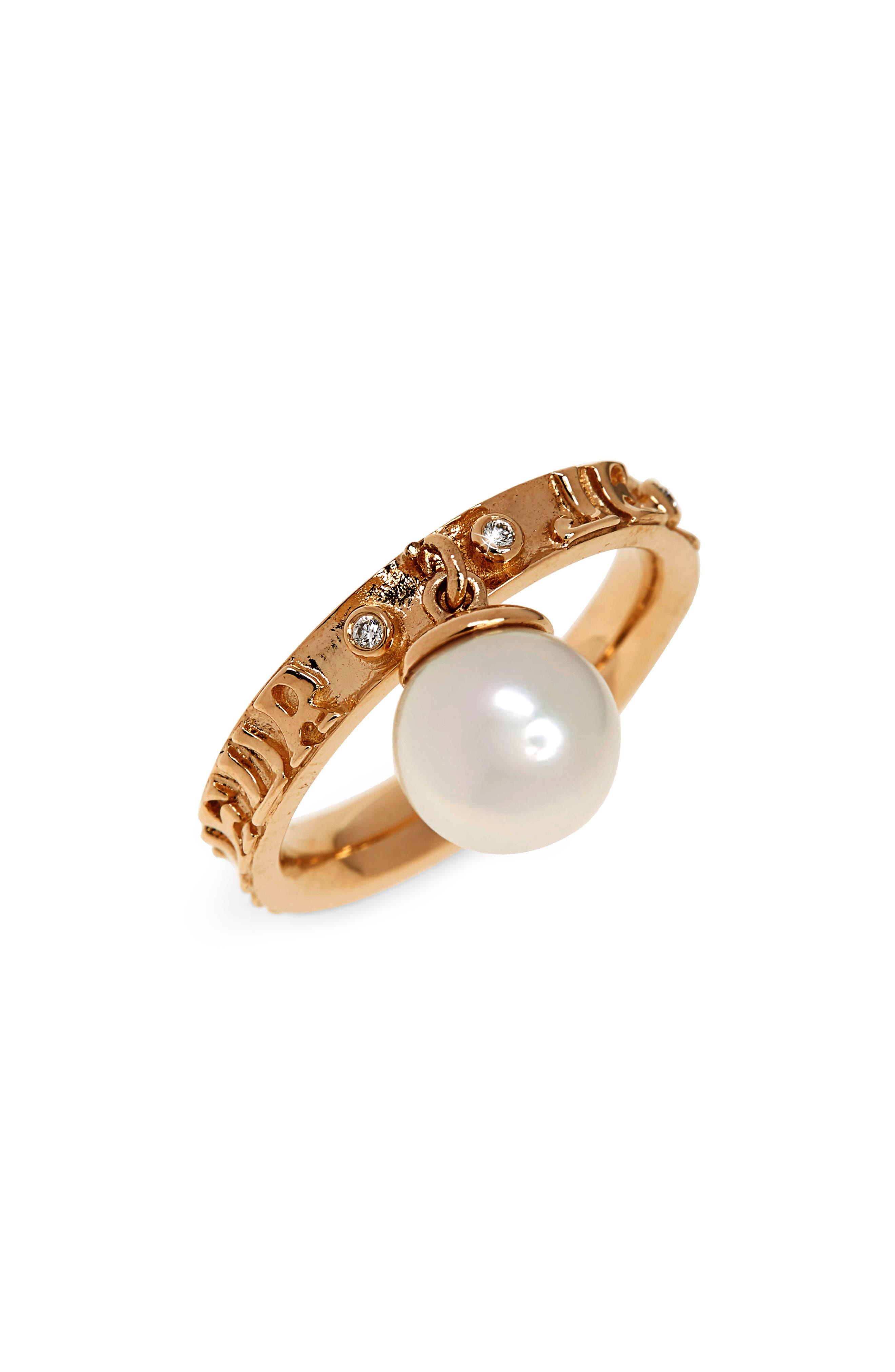 Dancing Pearl Ring,                             Main thumbnail 1, color,                             YELLOW GOLD