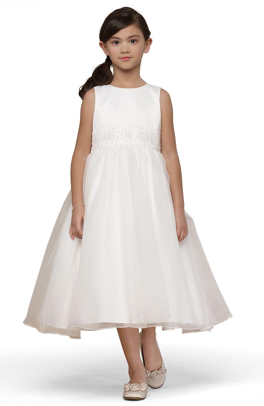 Beaded Satin Sleeveless Dress,                         Main,                         color, IVORY 2
