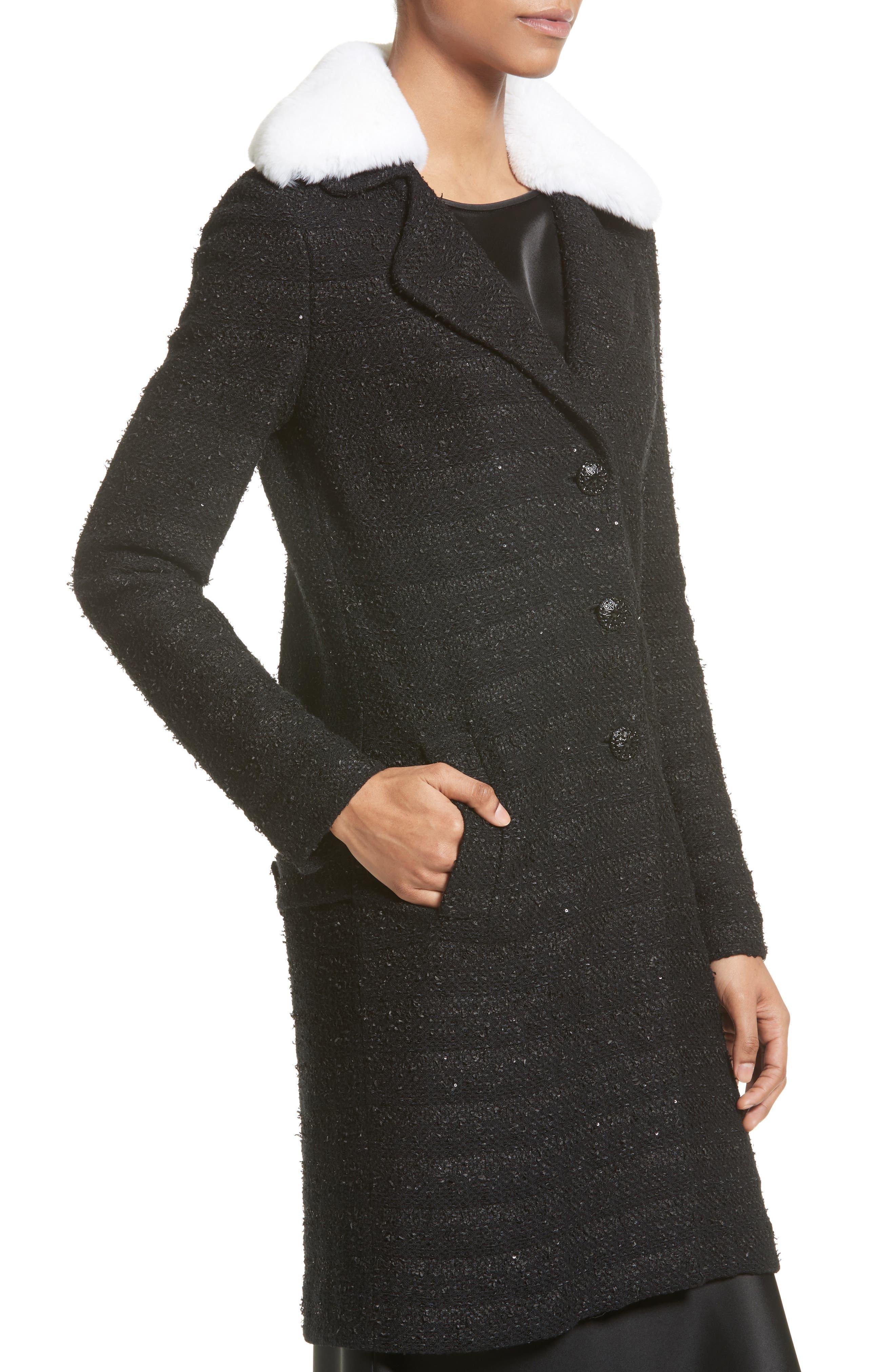Sequin Knit Topper with Detachable Genuine Rabbit Fur Collar,                             Alternate thumbnail 5, color,                             001