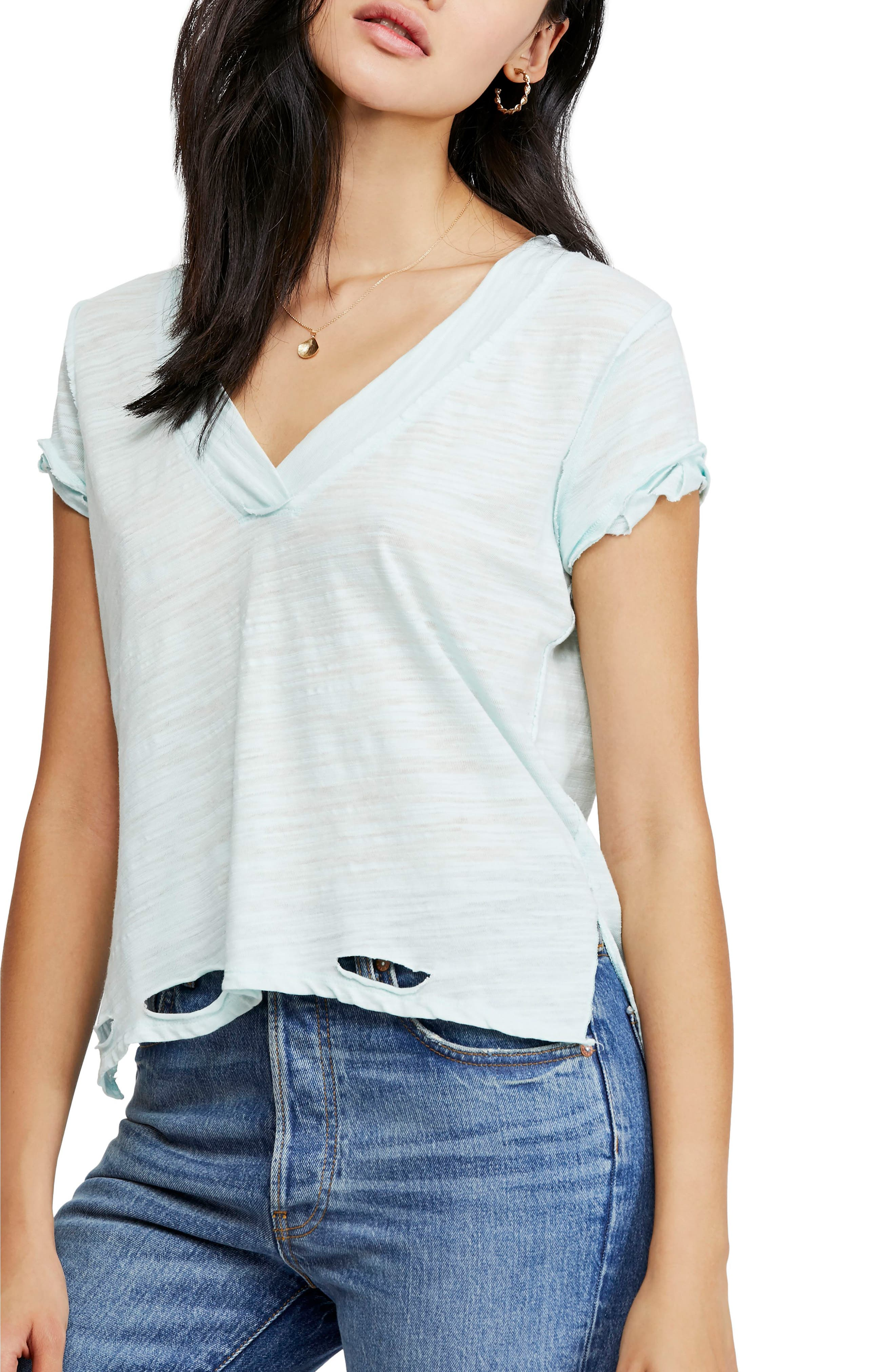 Free People V-Neck Tee, Blue/green