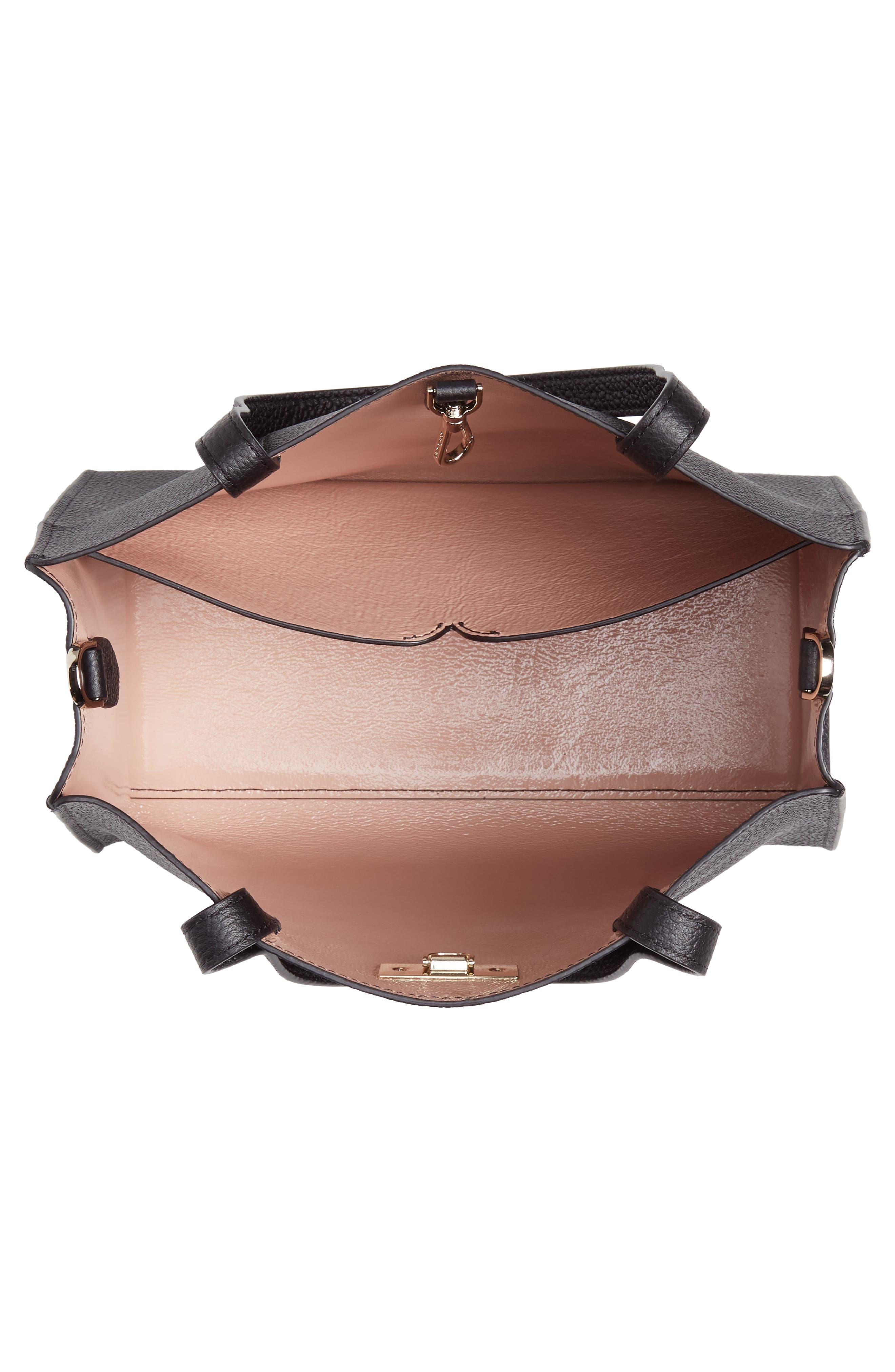 medium sam leather satchel,                             Alternate thumbnail 4, color,                             BLACK