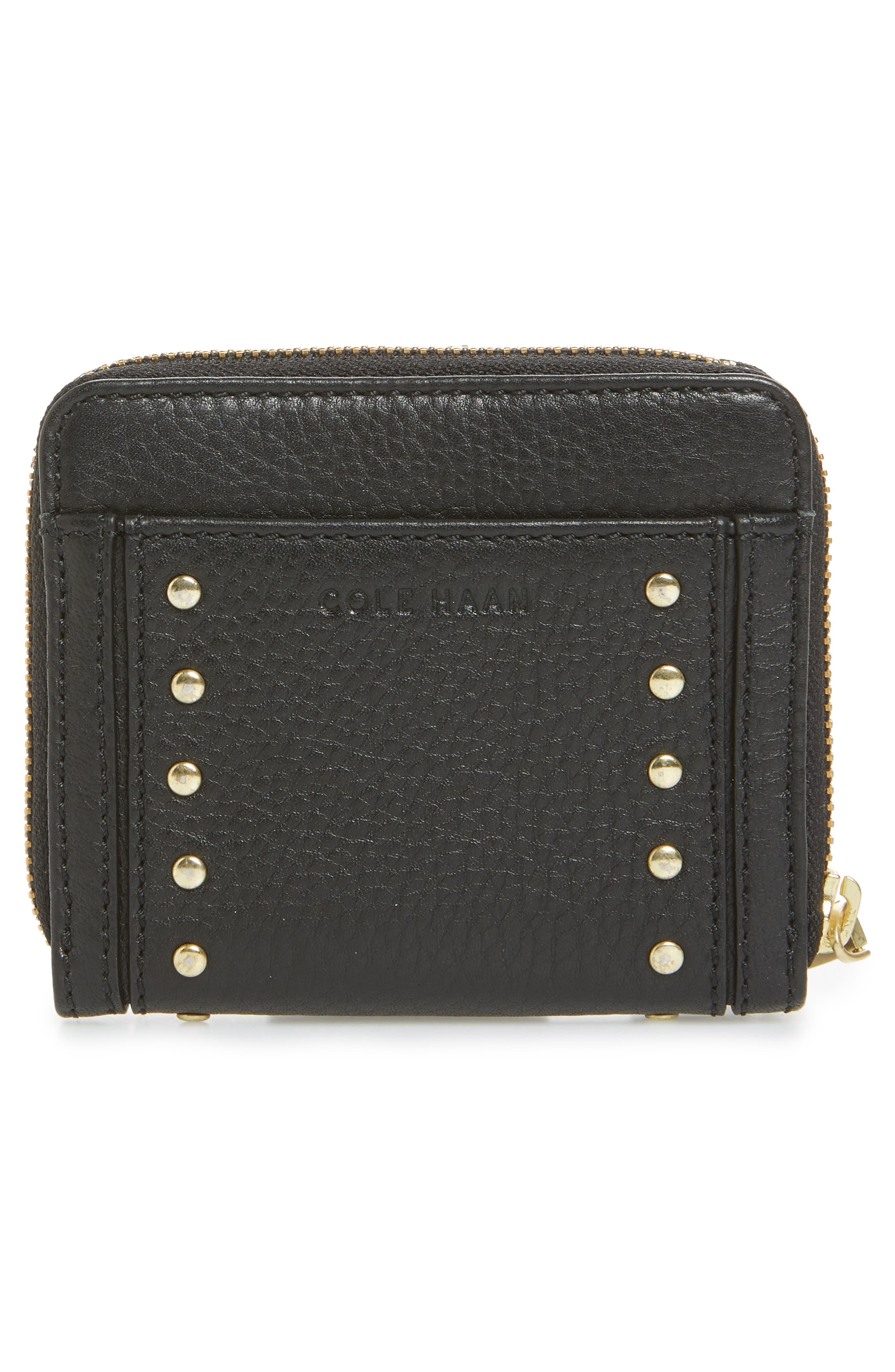 Cassidy Small RFID Leather Zip Wallet,                             Alternate thumbnail 4, color,                             001