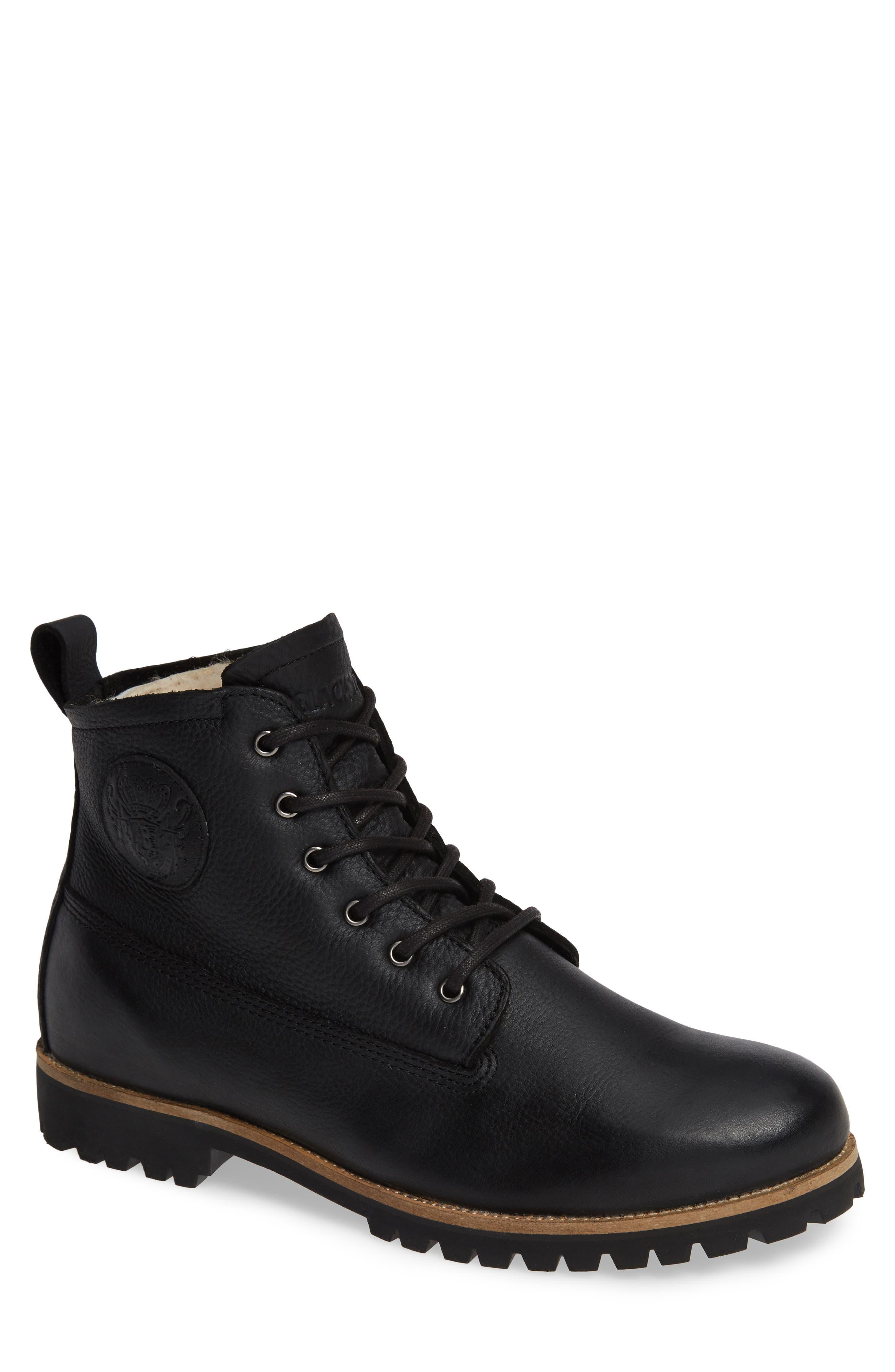 OM60 Waterproof Genuine Shearling Boot,                             Main thumbnail 1, color,                             BLACK