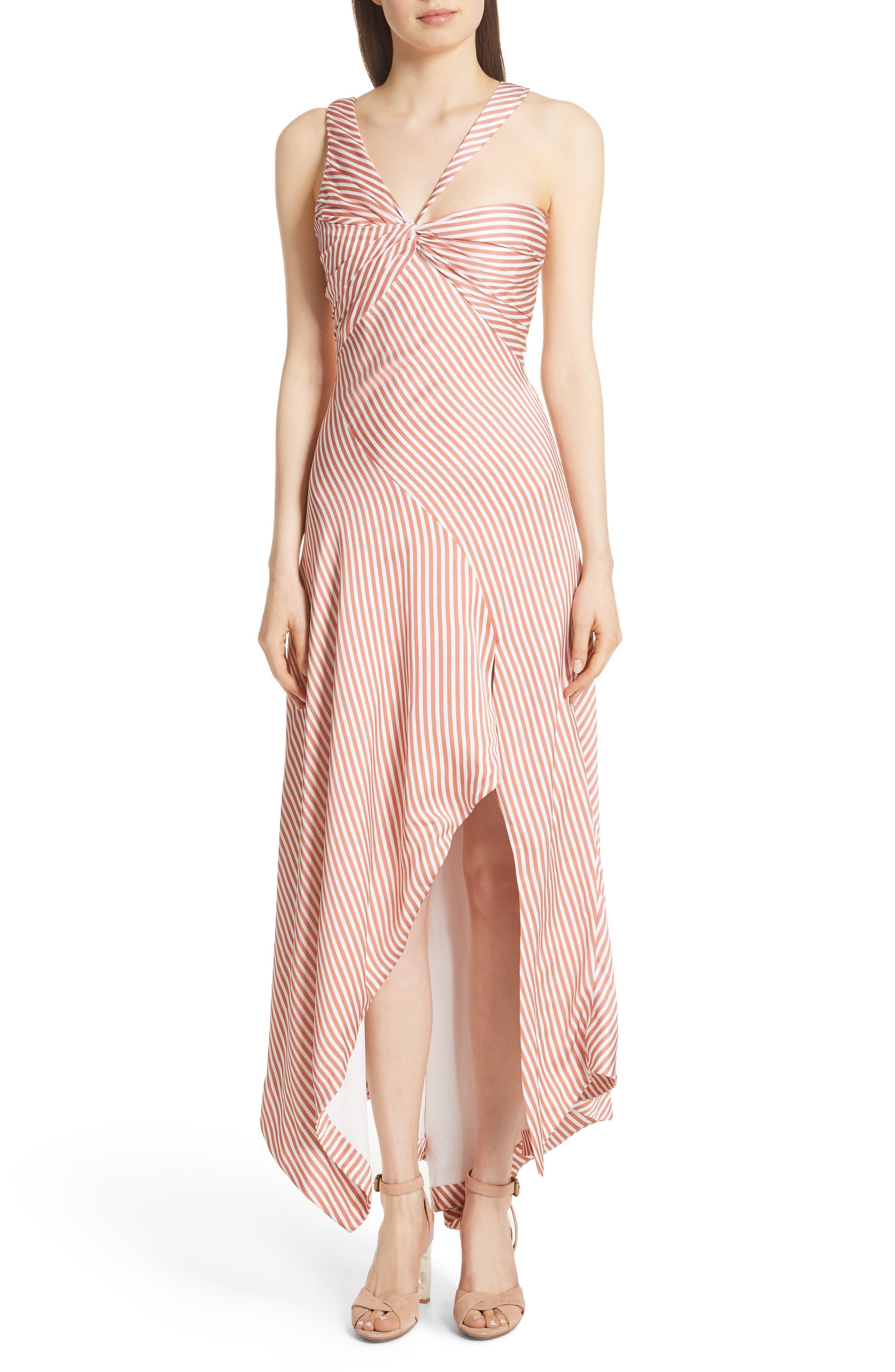 Jonathan Simkhai Asymmetrical Stripe Dress, Coral