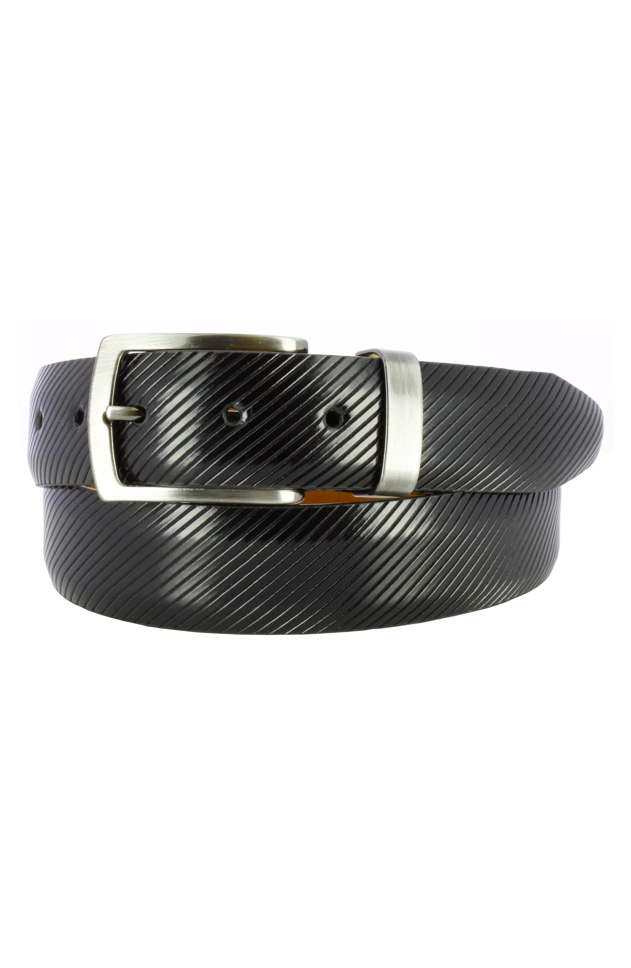 Sylvio Millerighe Leather Belt,                         Main,                         color, ONYX