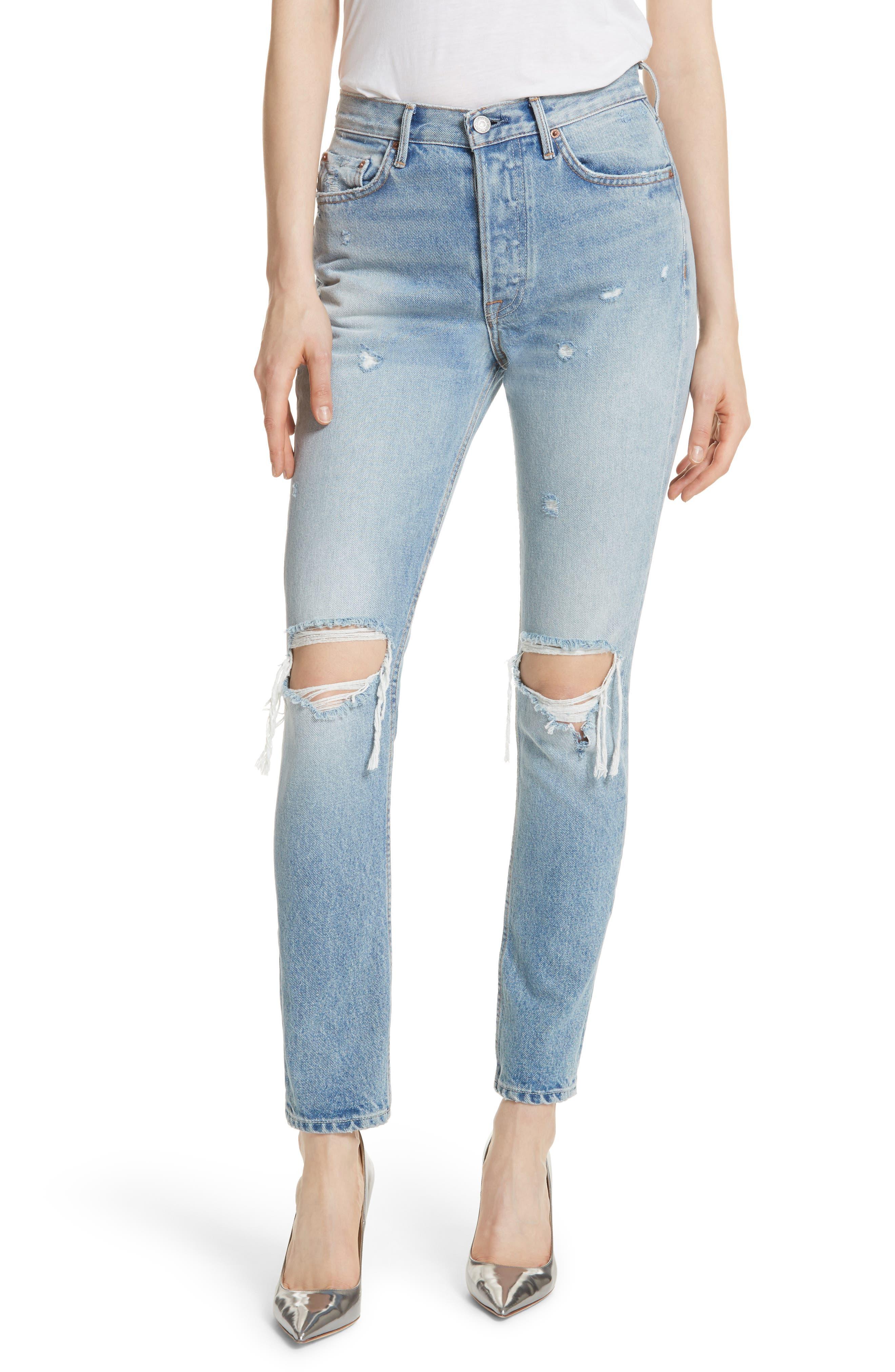 Karolina Ripped Skinny Jeans,                             Main thumbnail 1, color,                             TREASURE