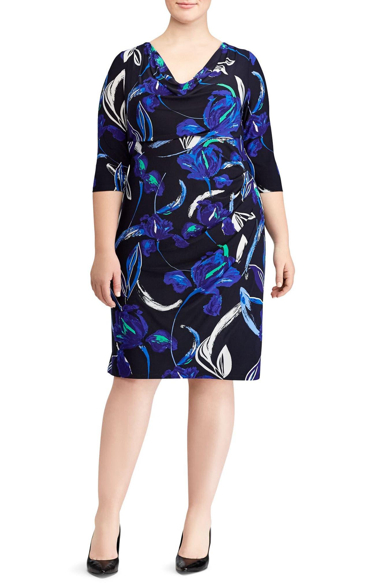 Floral Print Jersey Dress,                         Main,                         color, 400