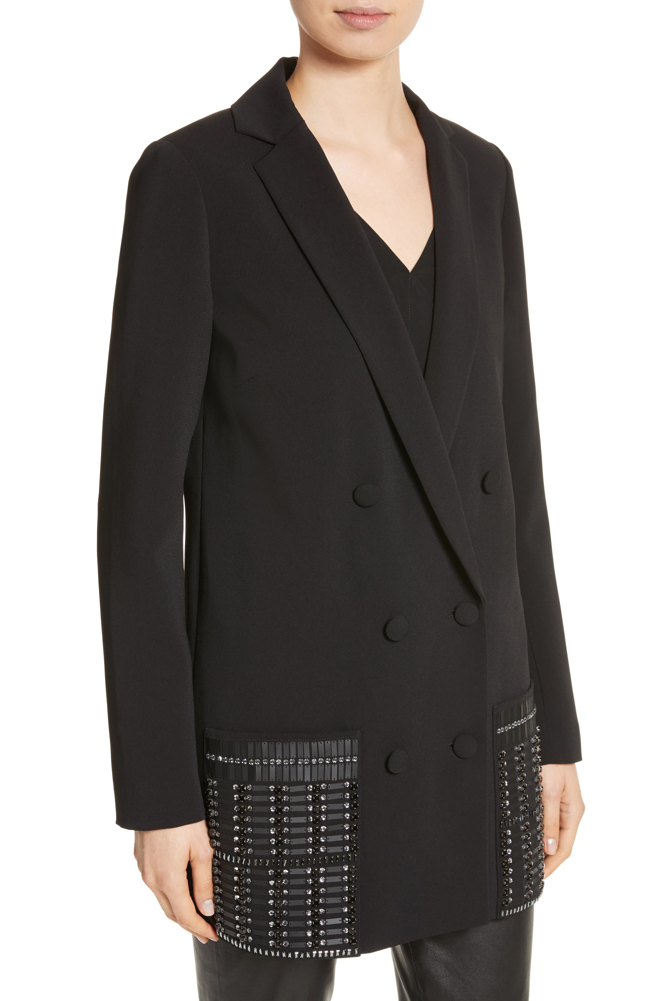 Beaded Double Breasted Blazer,                             Alternate thumbnail 4, color,                             001