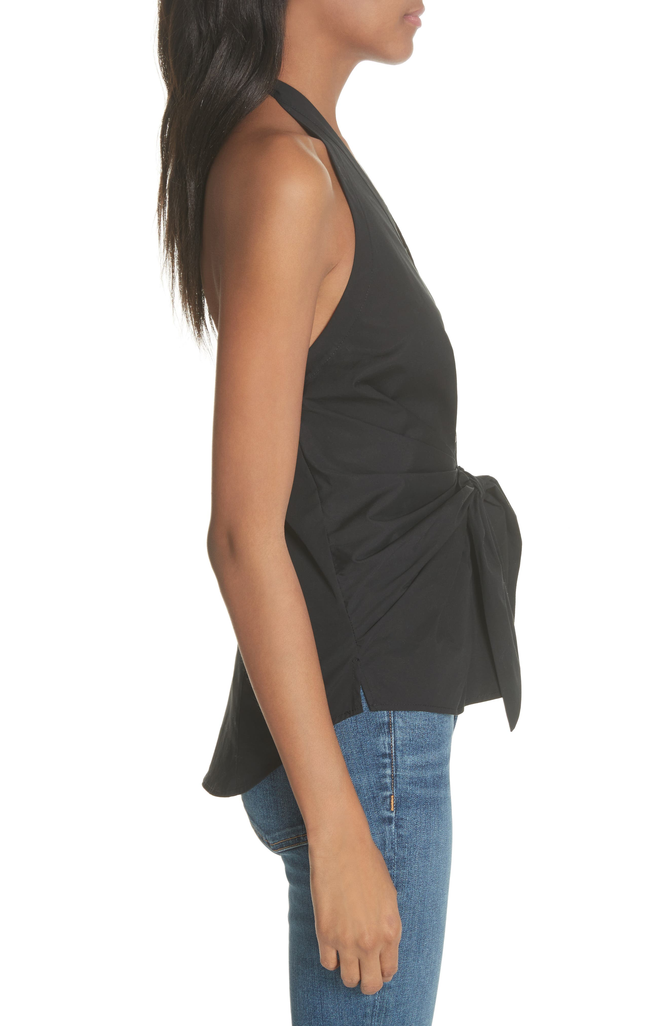 Vea Stretch Cotton Halter Top,                             Alternate thumbnail 3, color,
