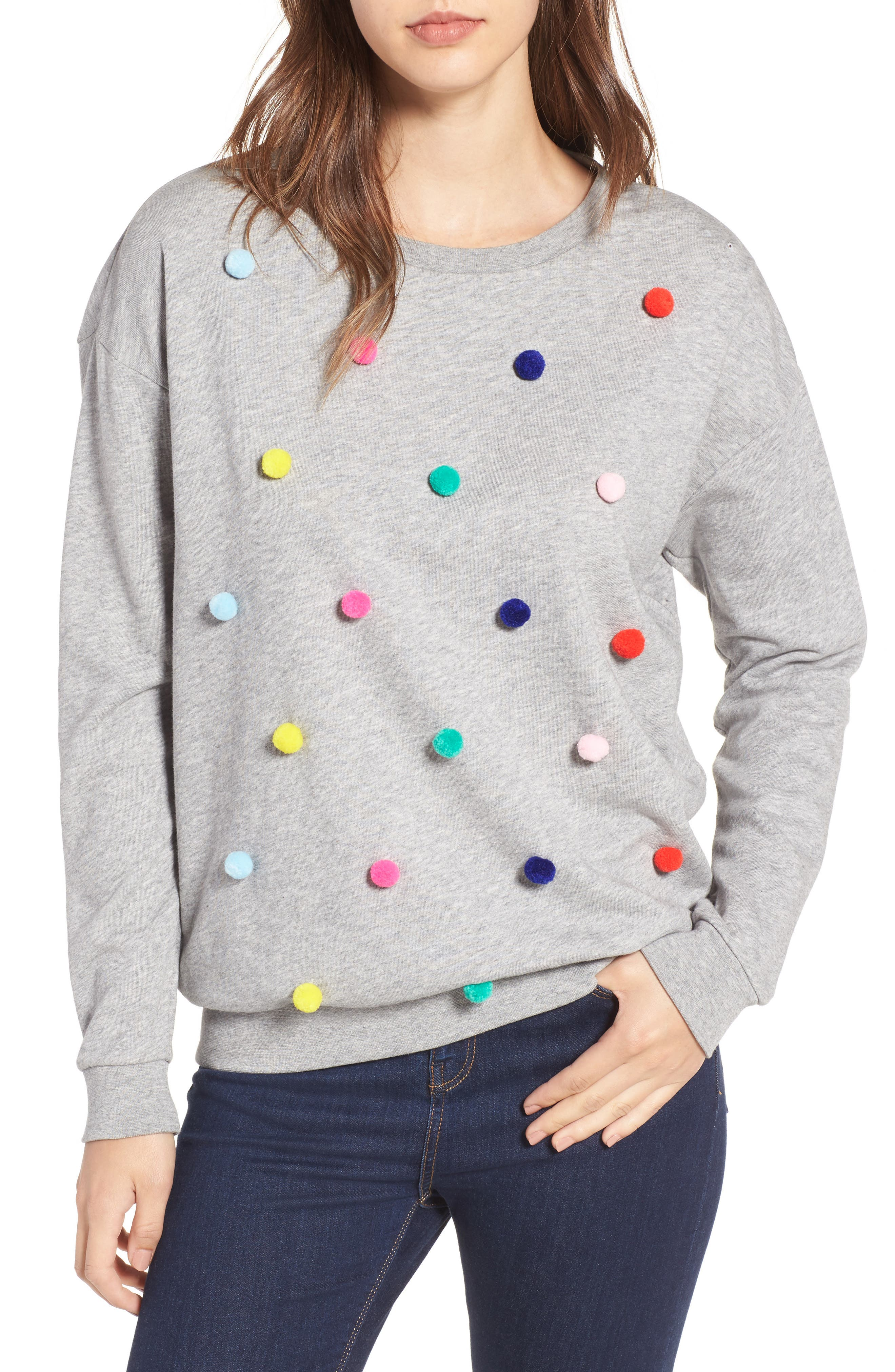 Pompom Sweatshirt,                             Main thumbnail 1, color,                             020
